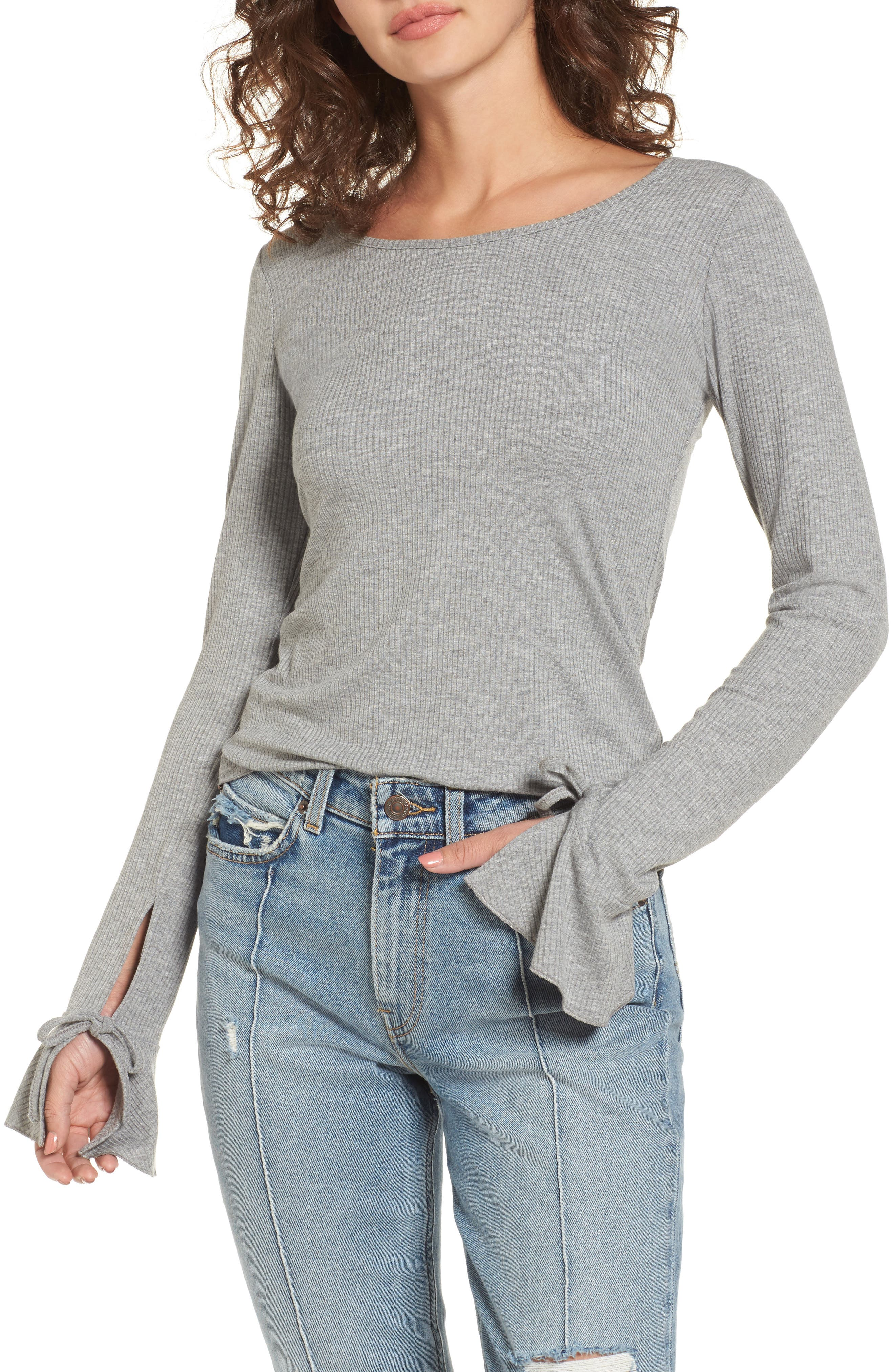 Tie Cuff Knit Top,                             Main thumbnail 1, color,                             Heather Grey