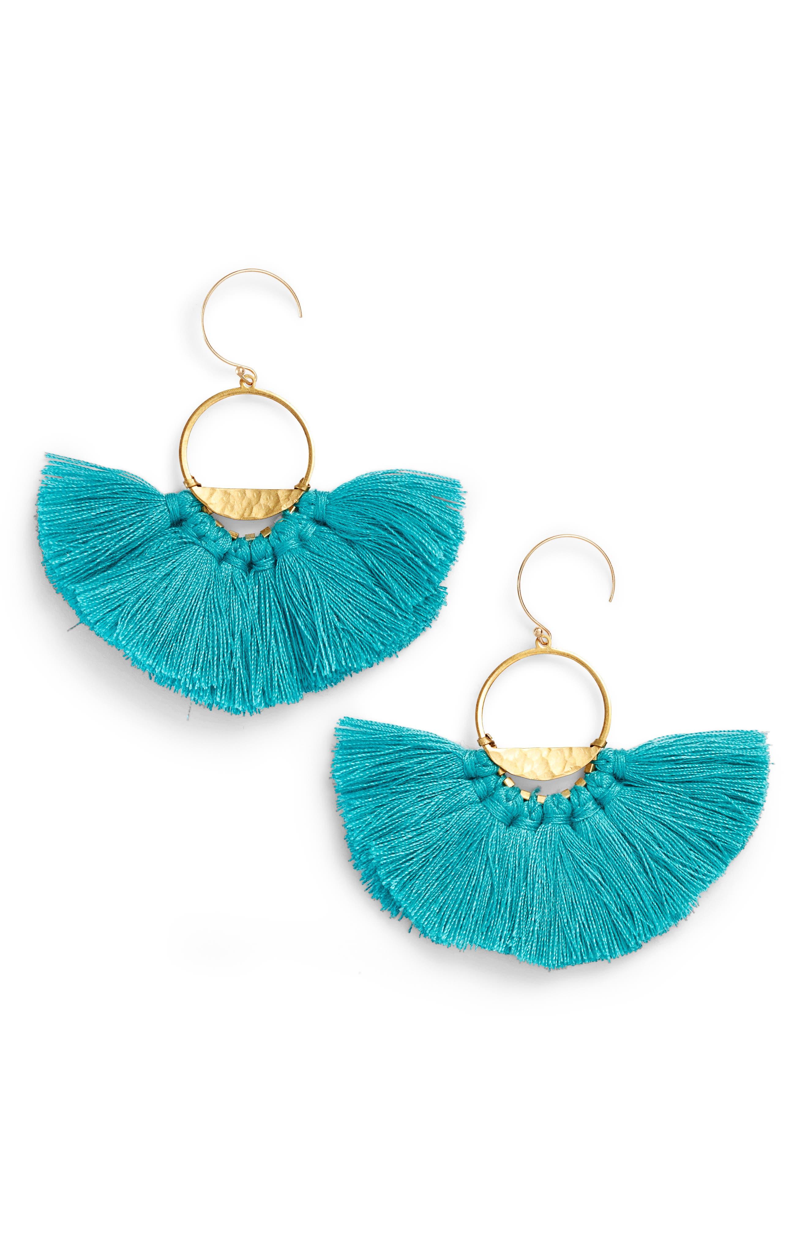 Flutter Tassel Earrings,                         Main,                         color, Turquoise/ Gold