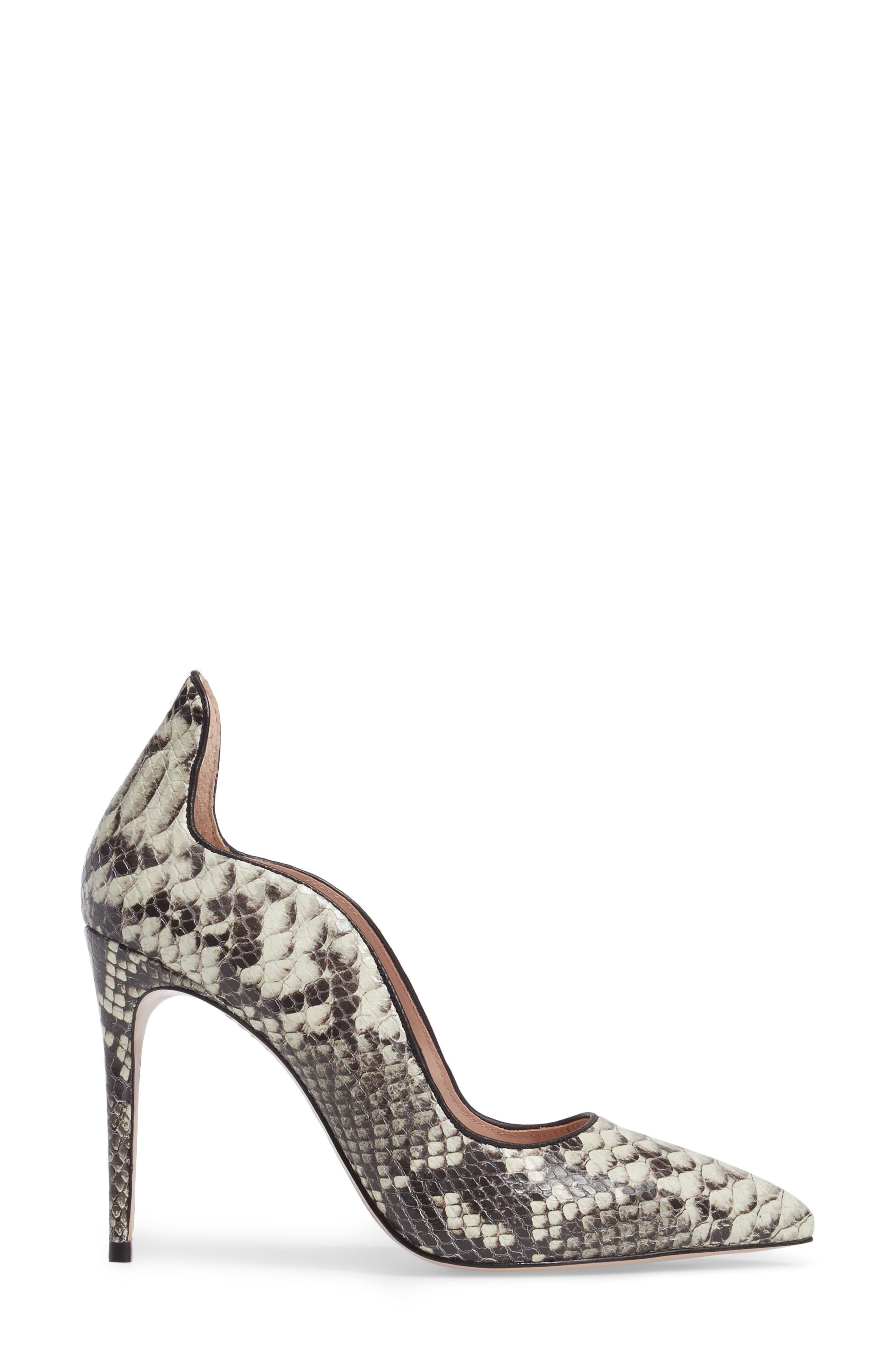 Anika II Curved Pump,                             Alternate thumbnail 3, color,                             Natural Embossed Leather