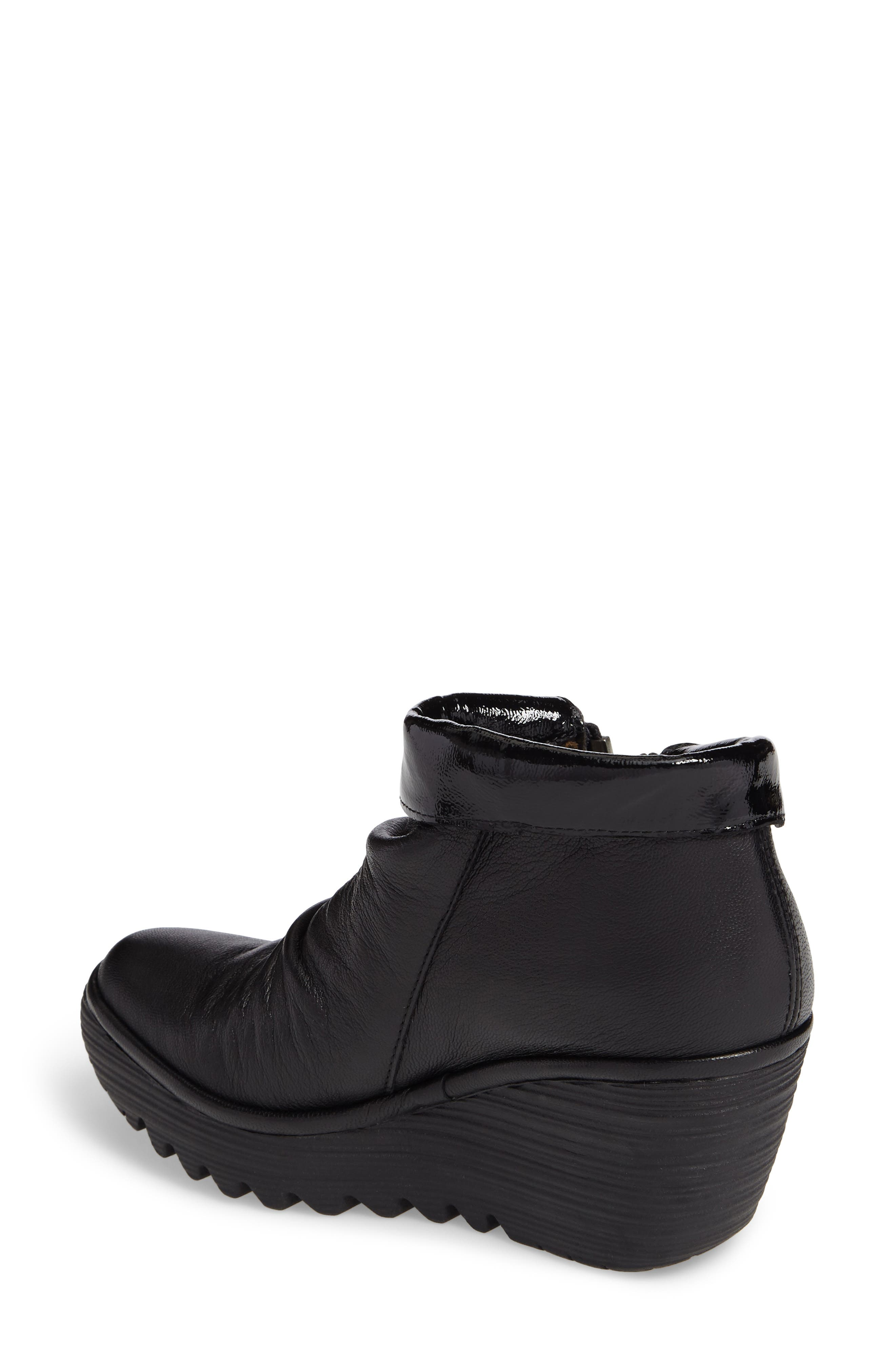 Yoxi Wedge Bootie,                             Alternate thumbnail 2, color,                             Black Leather