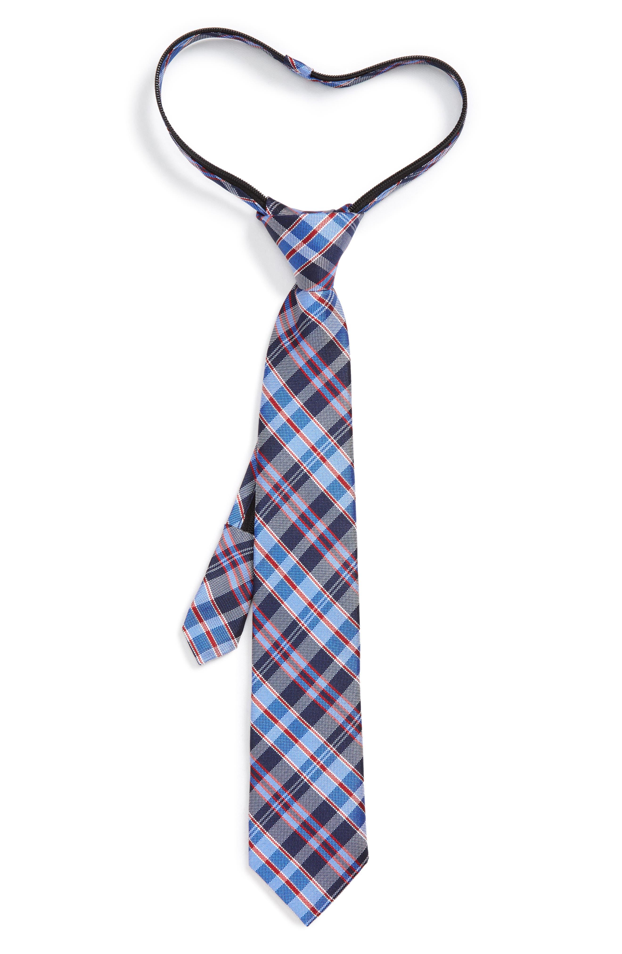 Main Image - Nordstrom Plaid Silk Zip Tie (Big Boys)