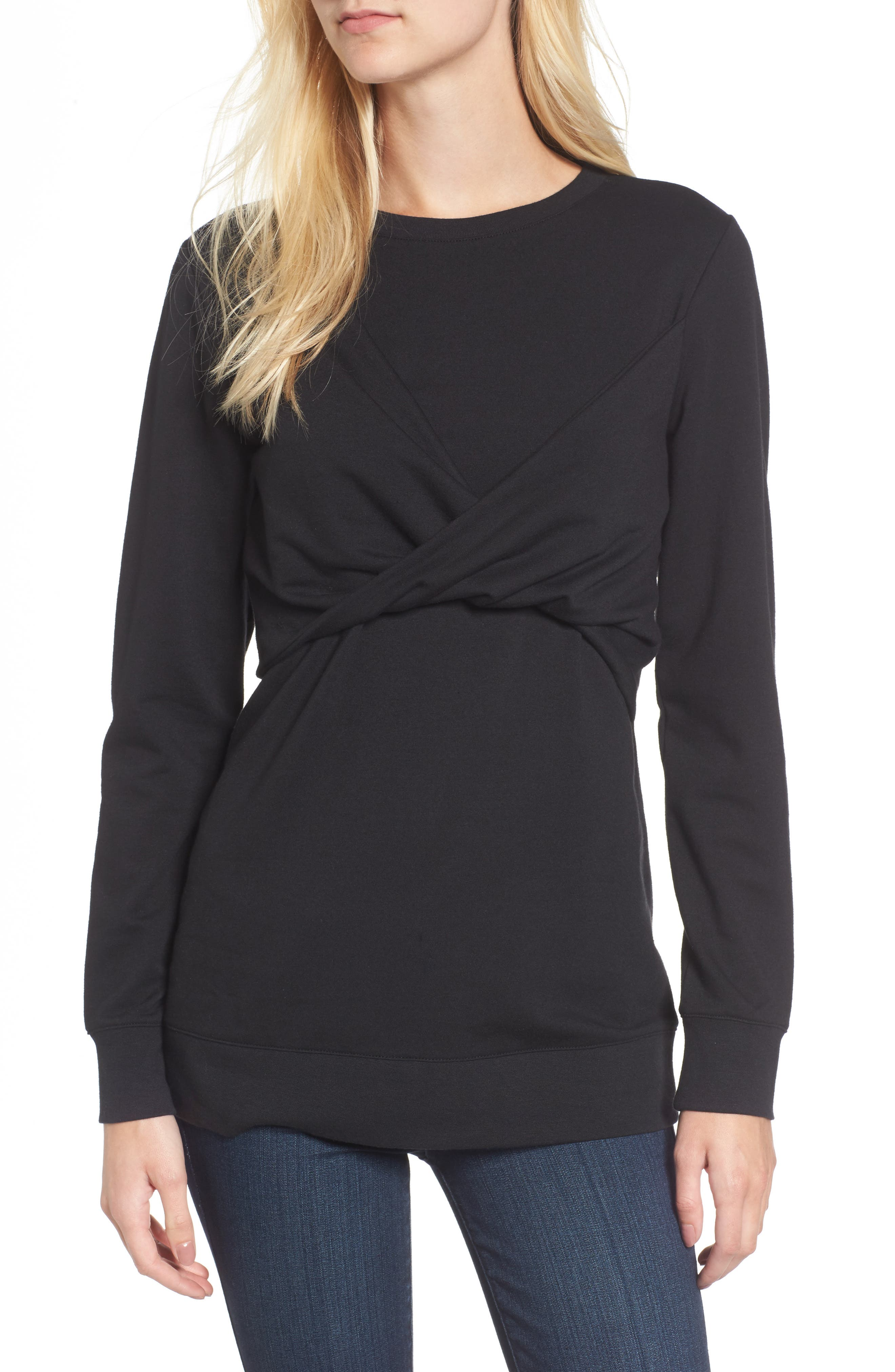 Twist Front Sweatshirt,                         Main,                         color, Black