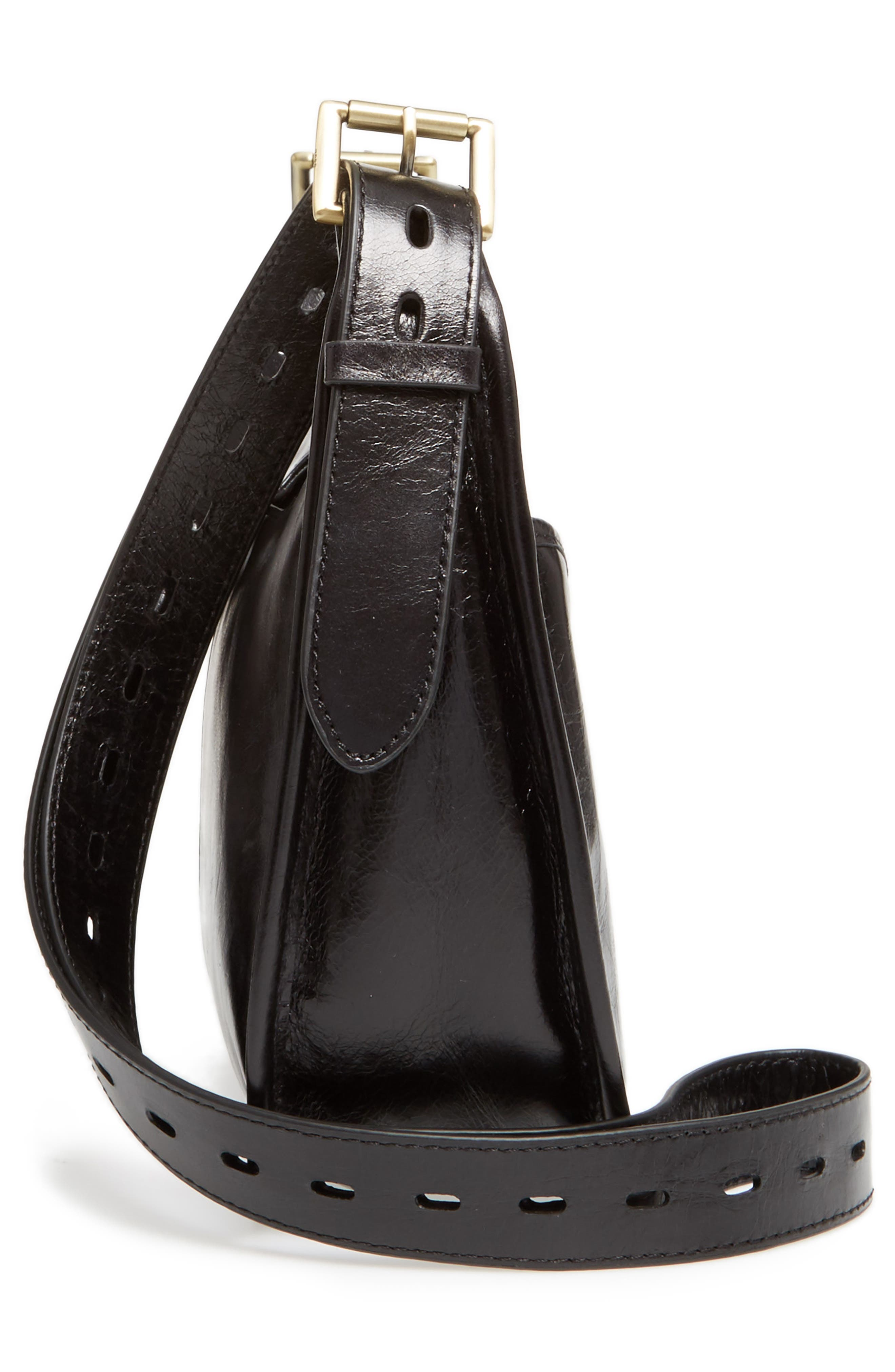 Chase Calfskin Leather Crossbody Bag,                             Alternate thumbnail 4, color,                             Black