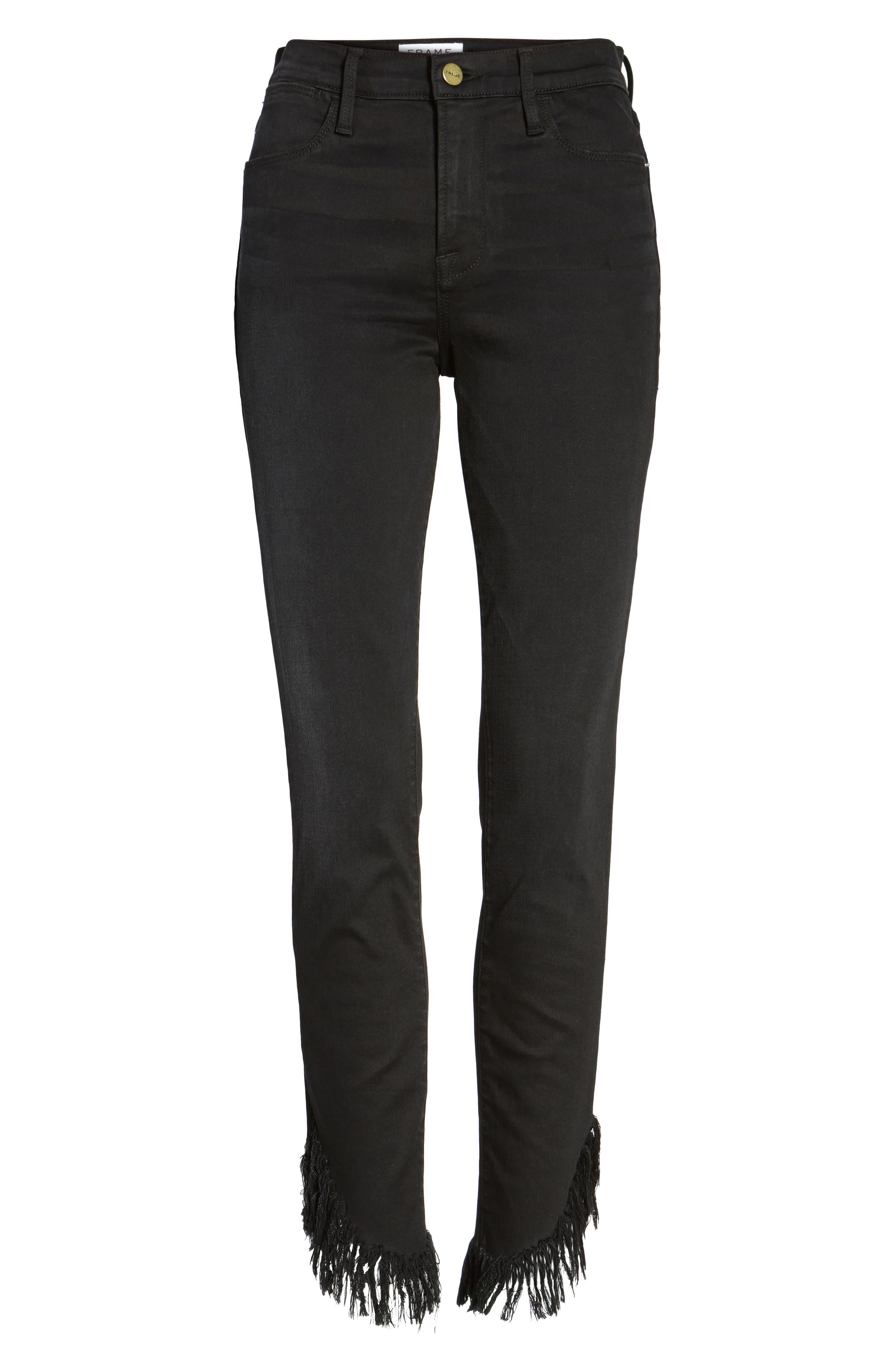Alternate Image 7  - FRAME Le High Shredded Skinny Jeans (Noir) (Nordstrom Exclusive)
