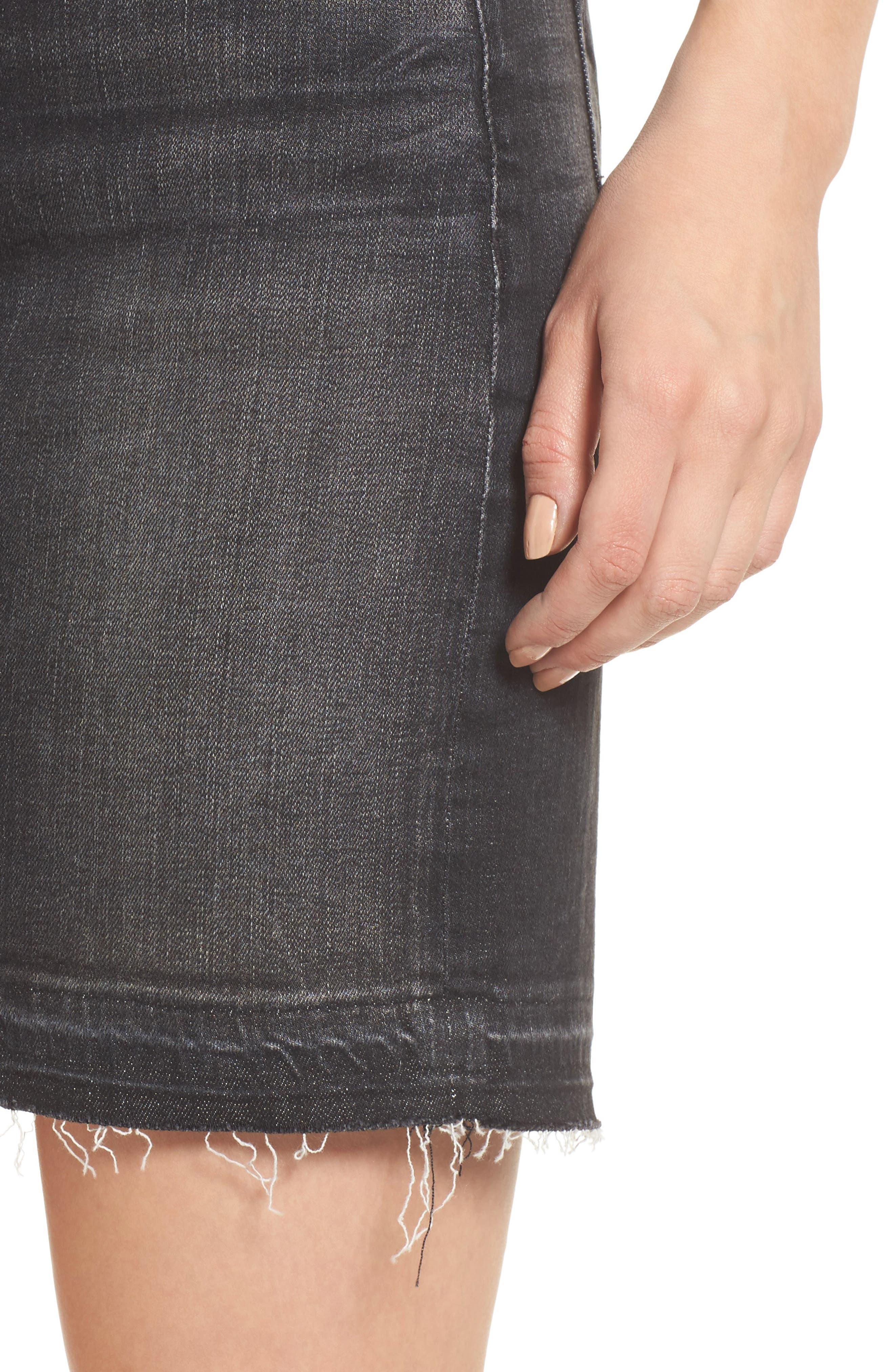 Robbie Cutoff Denim Miniskirt,                             Alternate thumbnail 4, color,                             Black