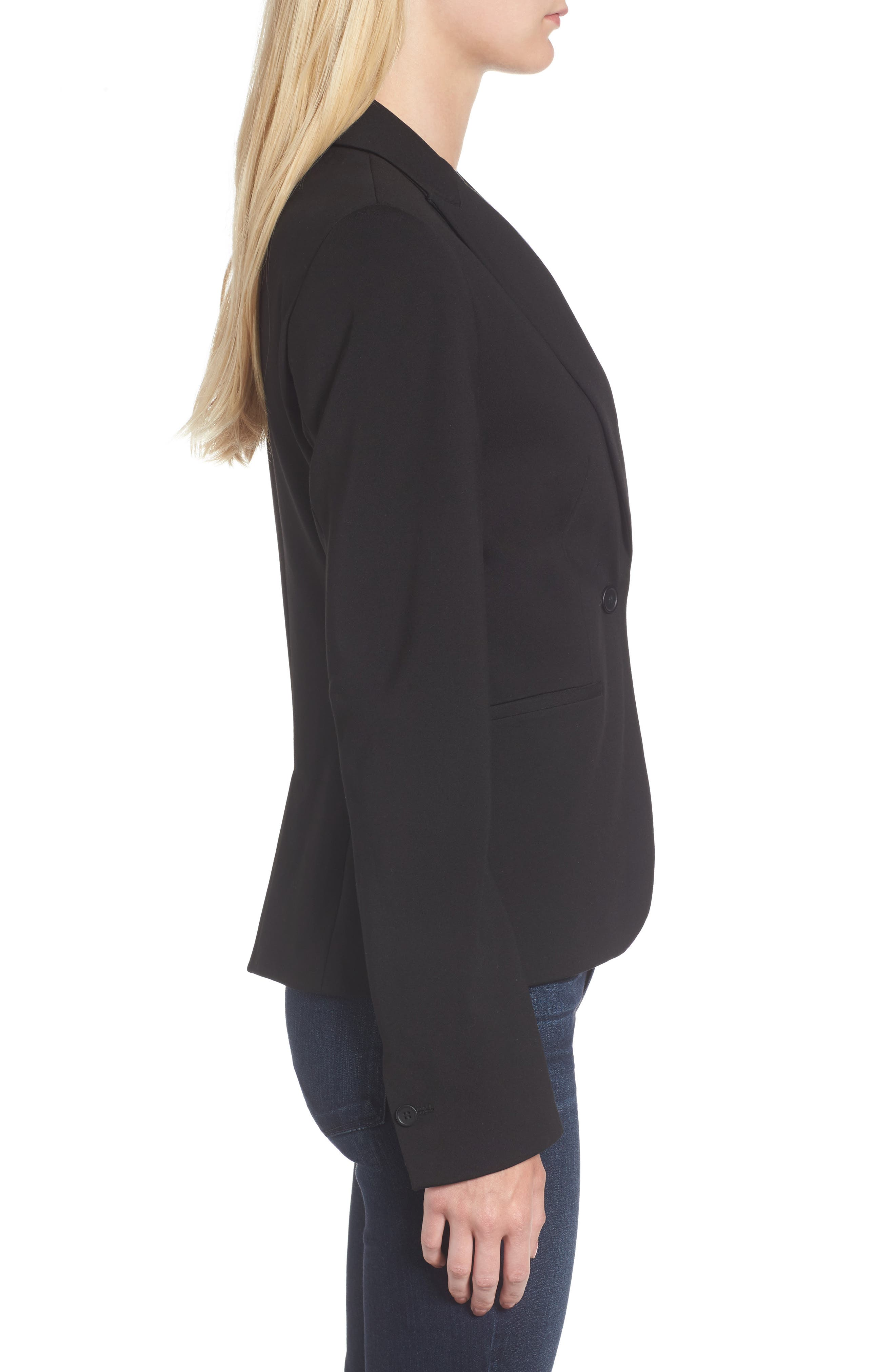 C-Suite Ponte Blazer,                             Alternate thumbnail 3, color,                             Black