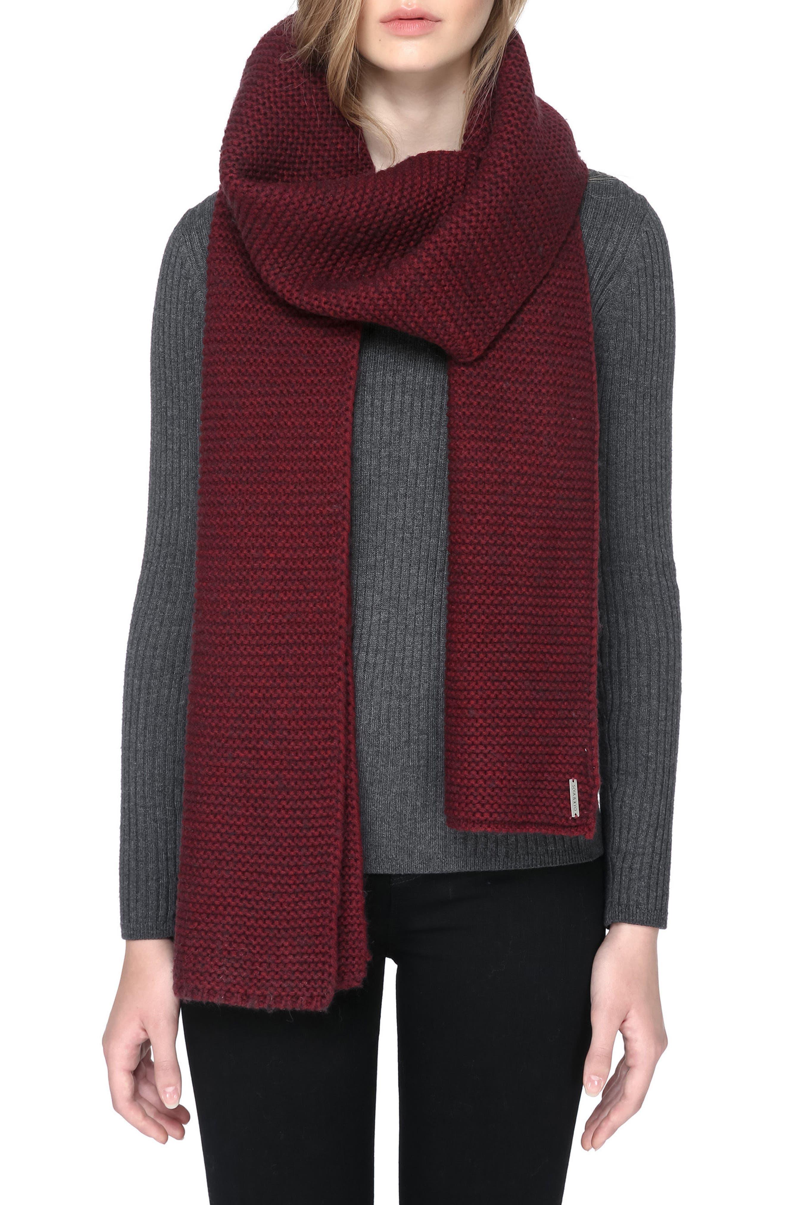 Extra Long Knit Scarf,                             Main thumbnail 1, color,                             Maroon
