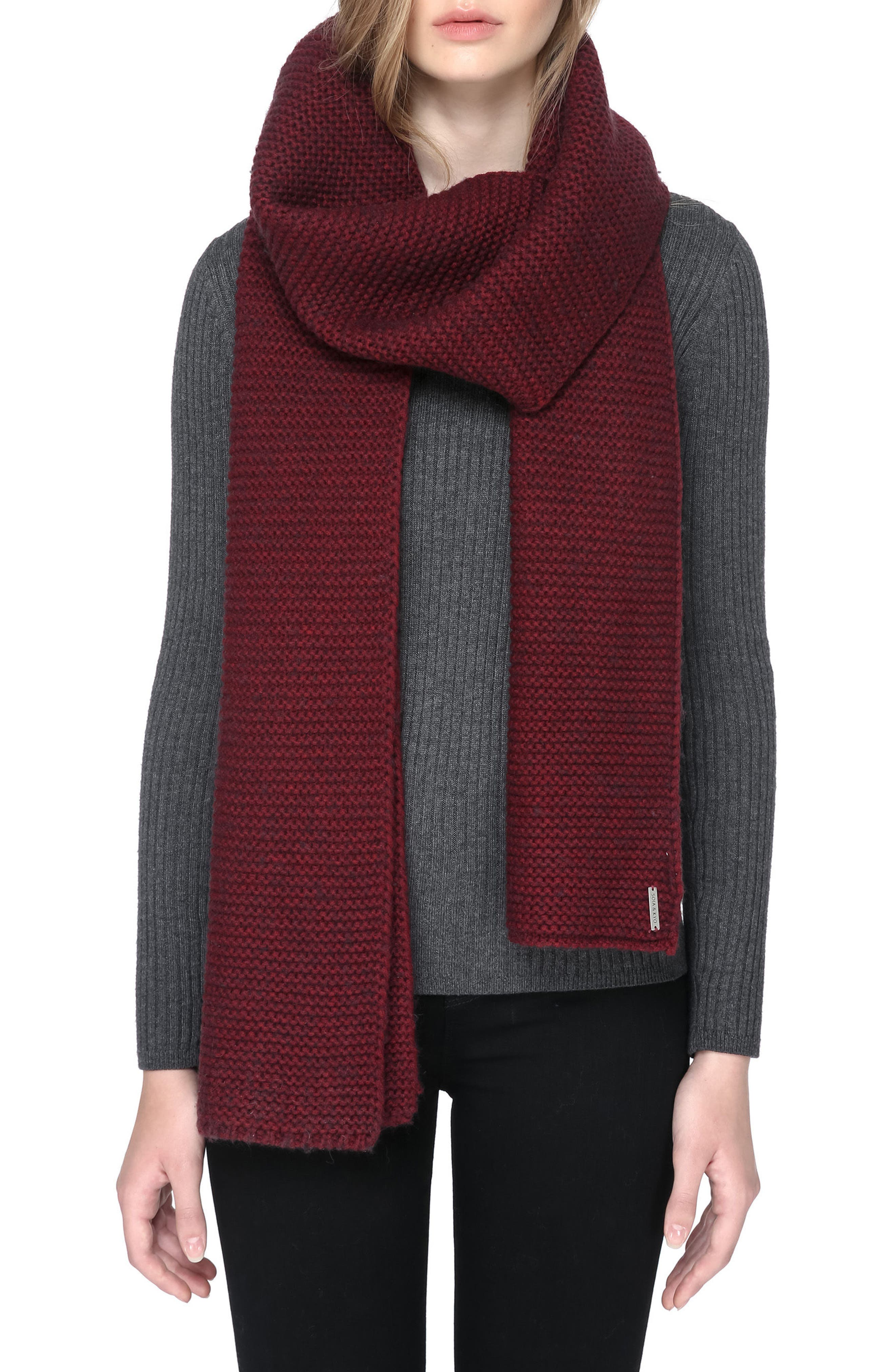 Extra Long Knit Scarf,                         Main,                         color, Maroon