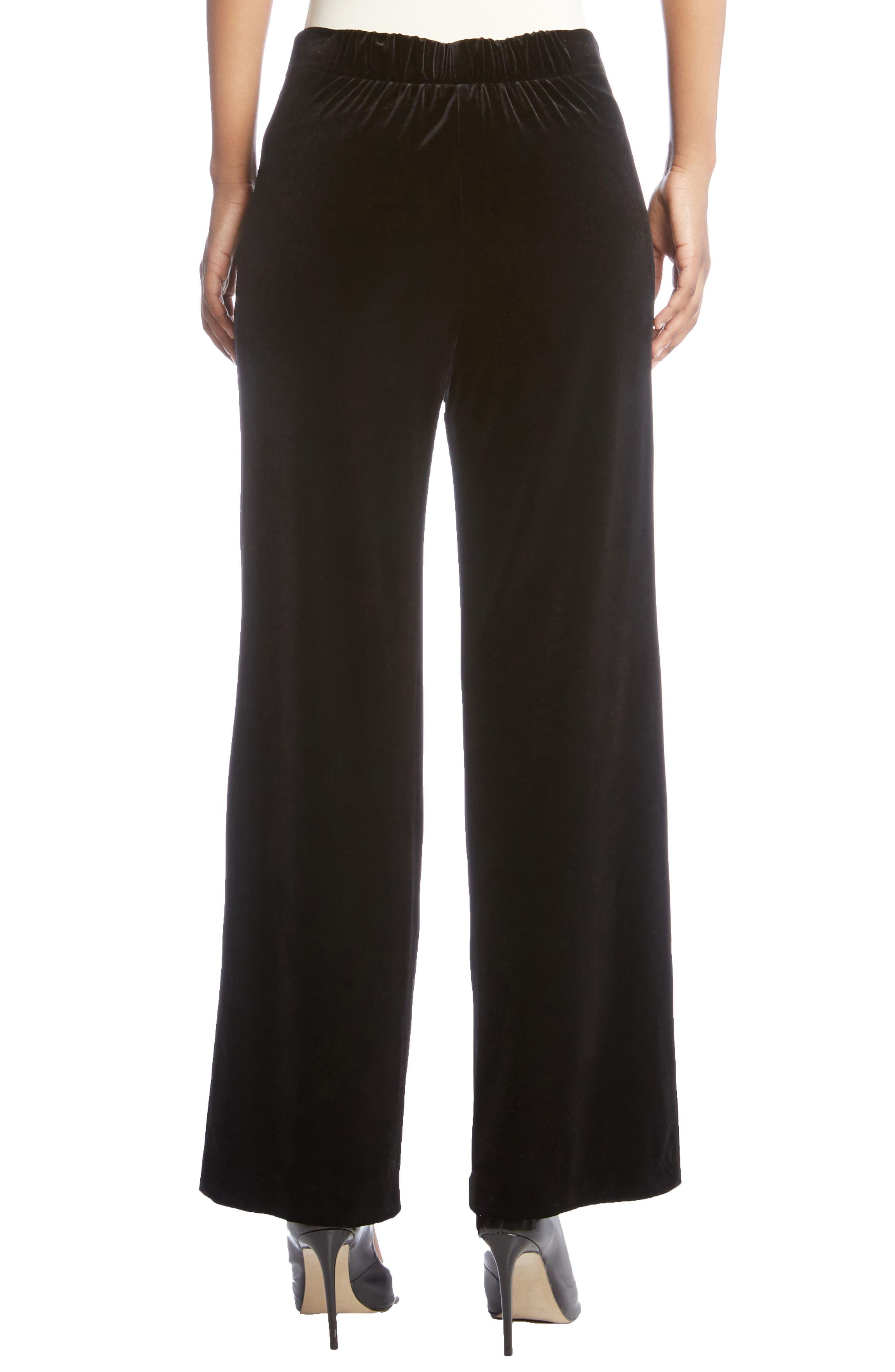Wide Leg Velvet Pants,                             Alternate thumbnail 2, color,                             Black