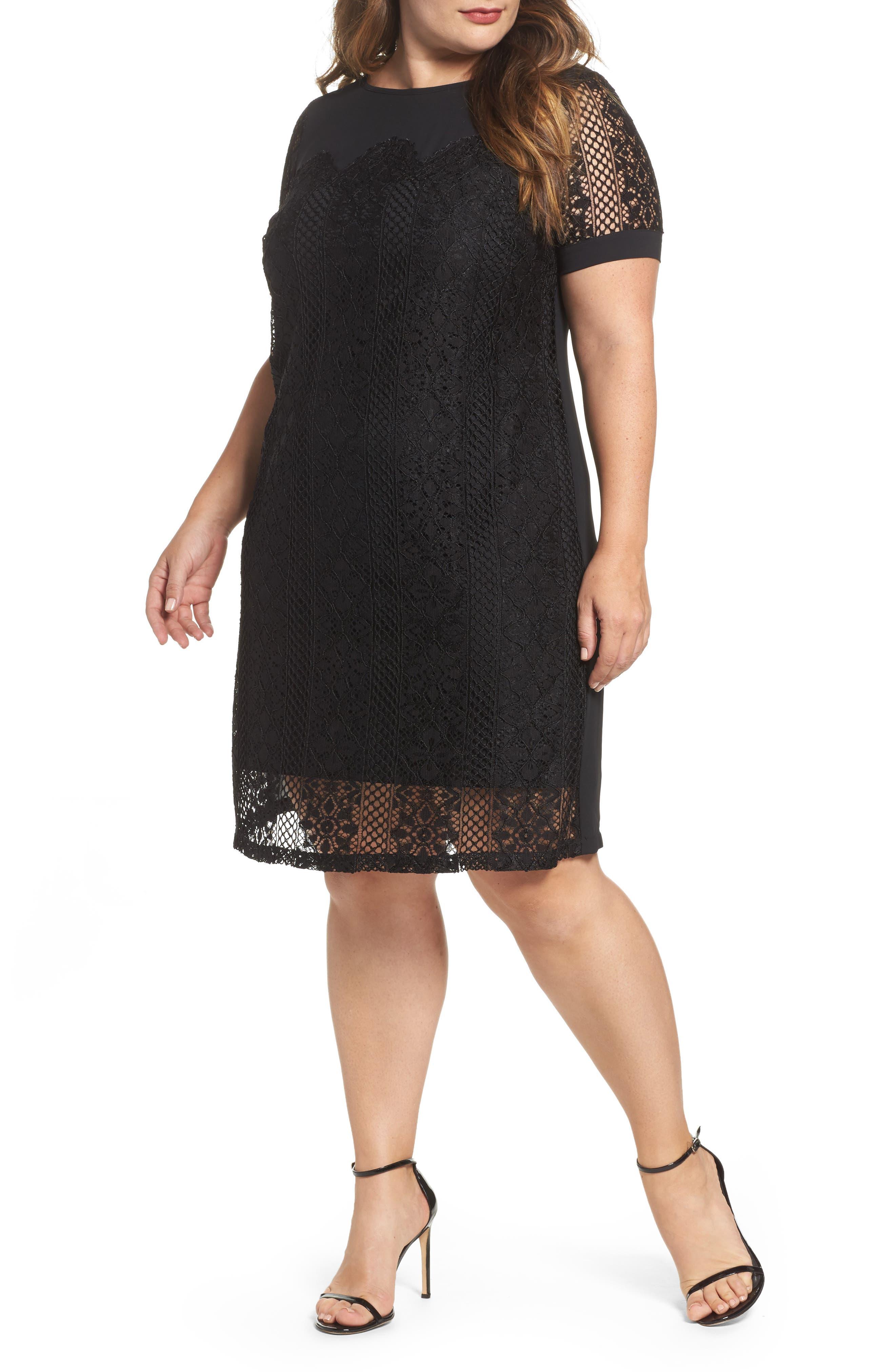 Sangria Lace Overlay Shift Dress (Plus Size)