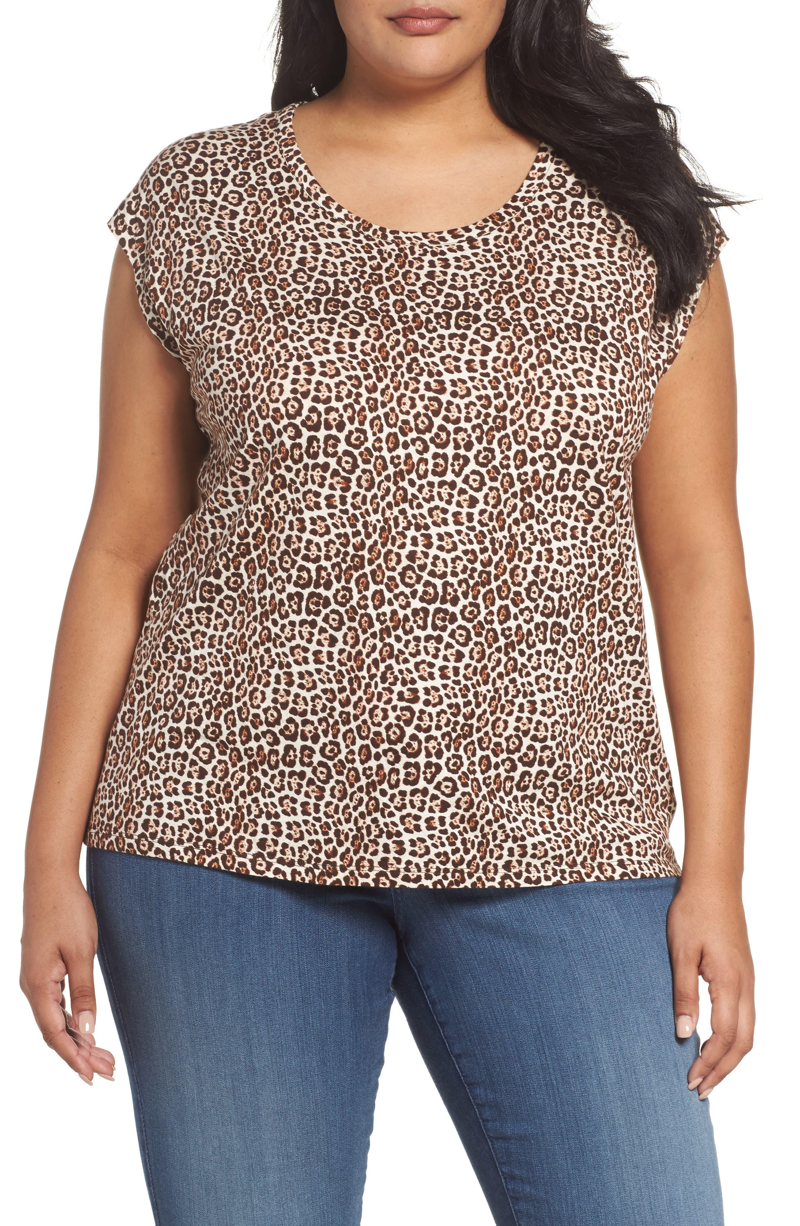 MICHAEL Michael Kors Leopard Print Elliptical Top (Plus Size)