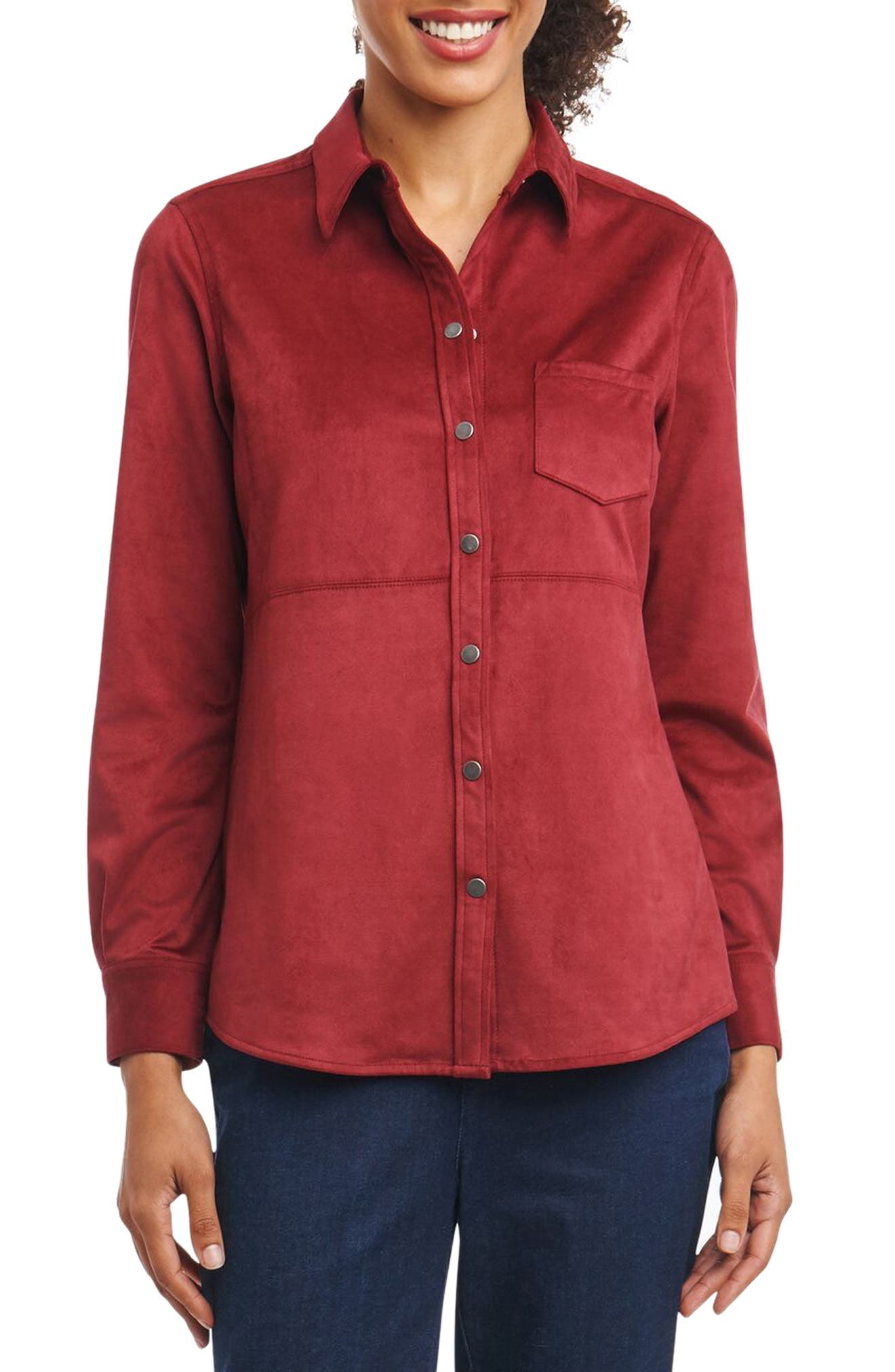 Jena Faux Suede Shirt,                             Main thumbnail 1, color,                             Roseberry