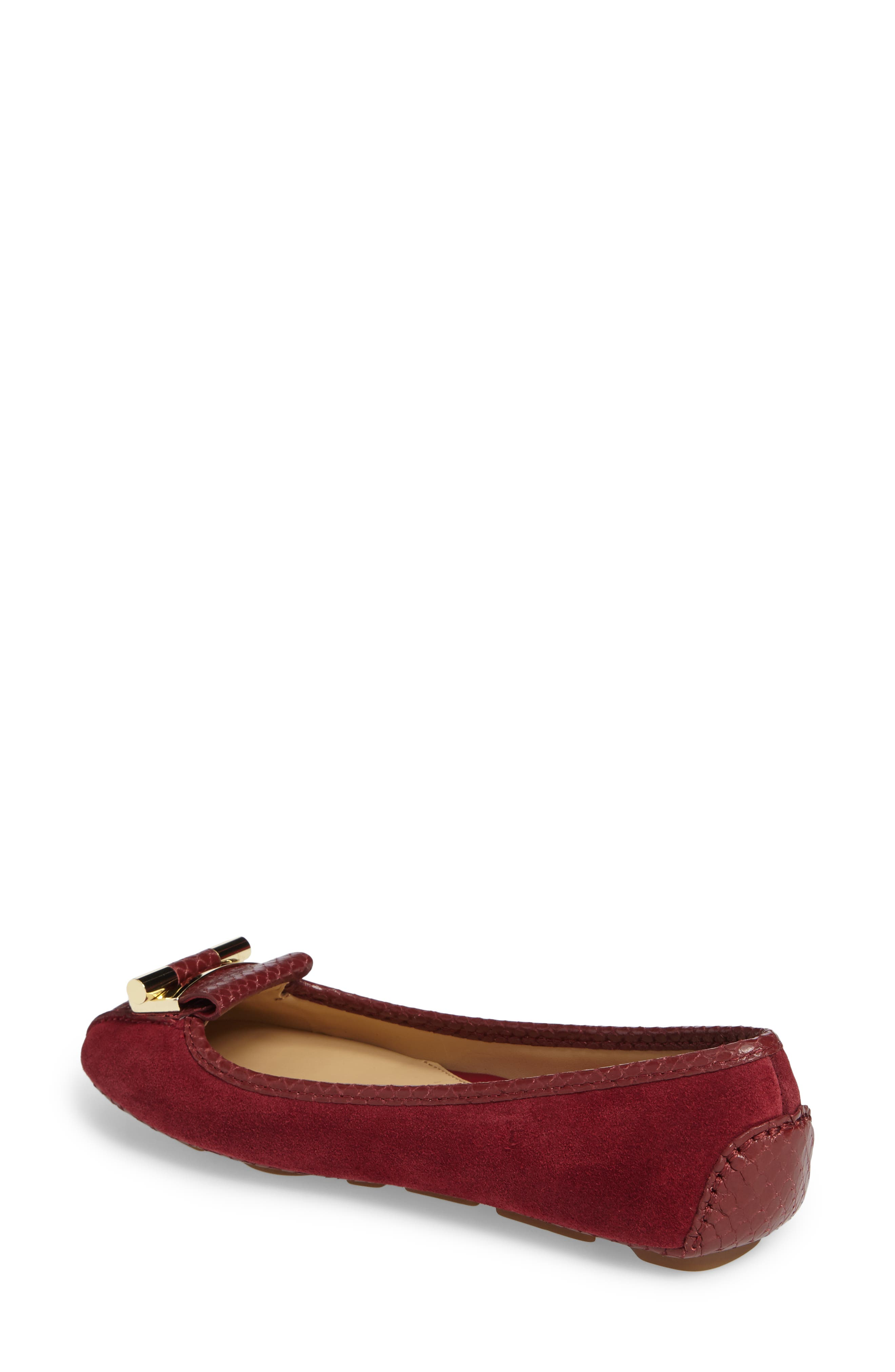 Gloria Flat,                             Alternate thumbnail 2, color,                             Mulberry Snake Print Suede