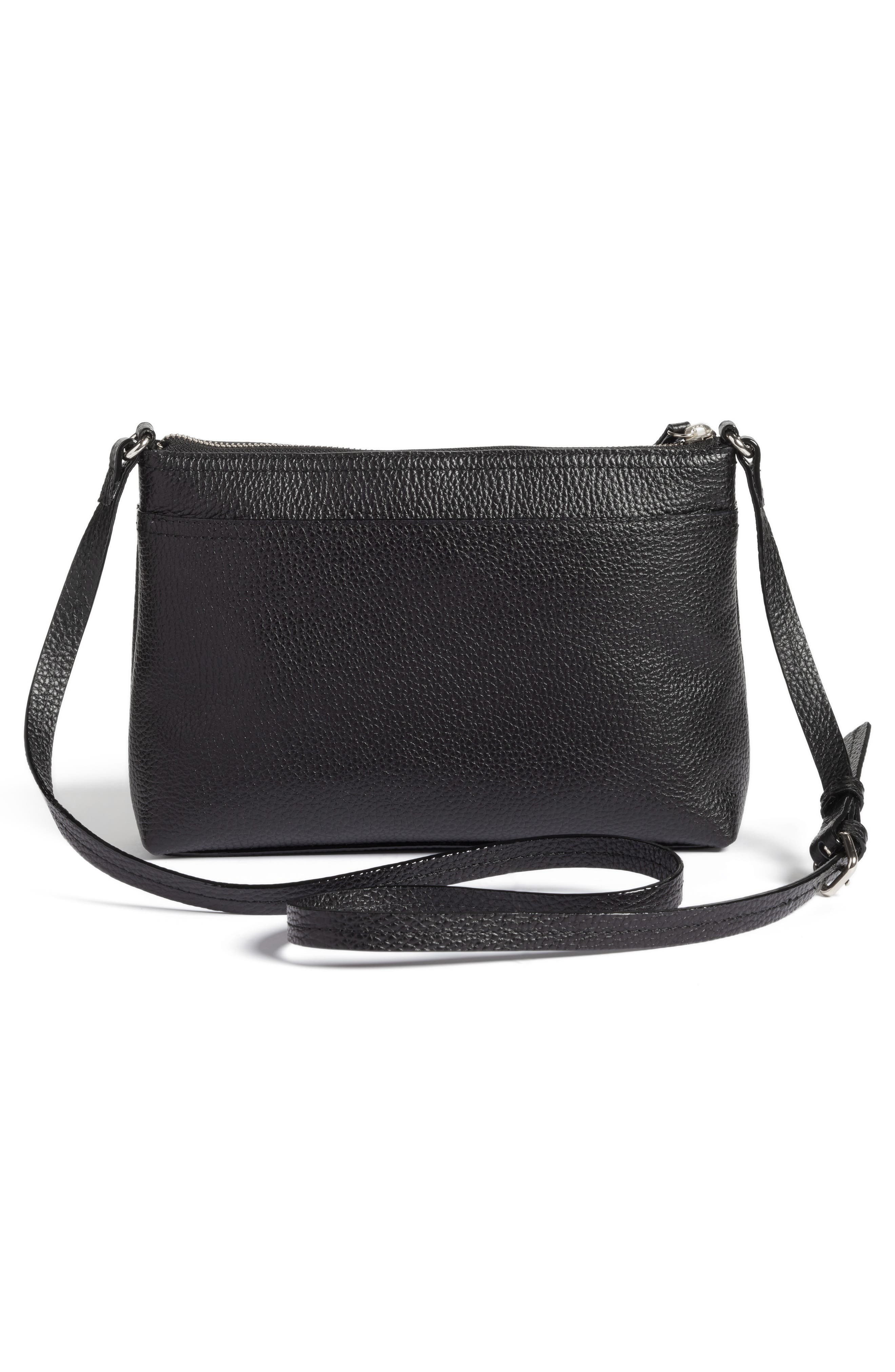 Pebbled Leather Crossbody Bag,                             Alternate thumbnail 3, color,                             Black