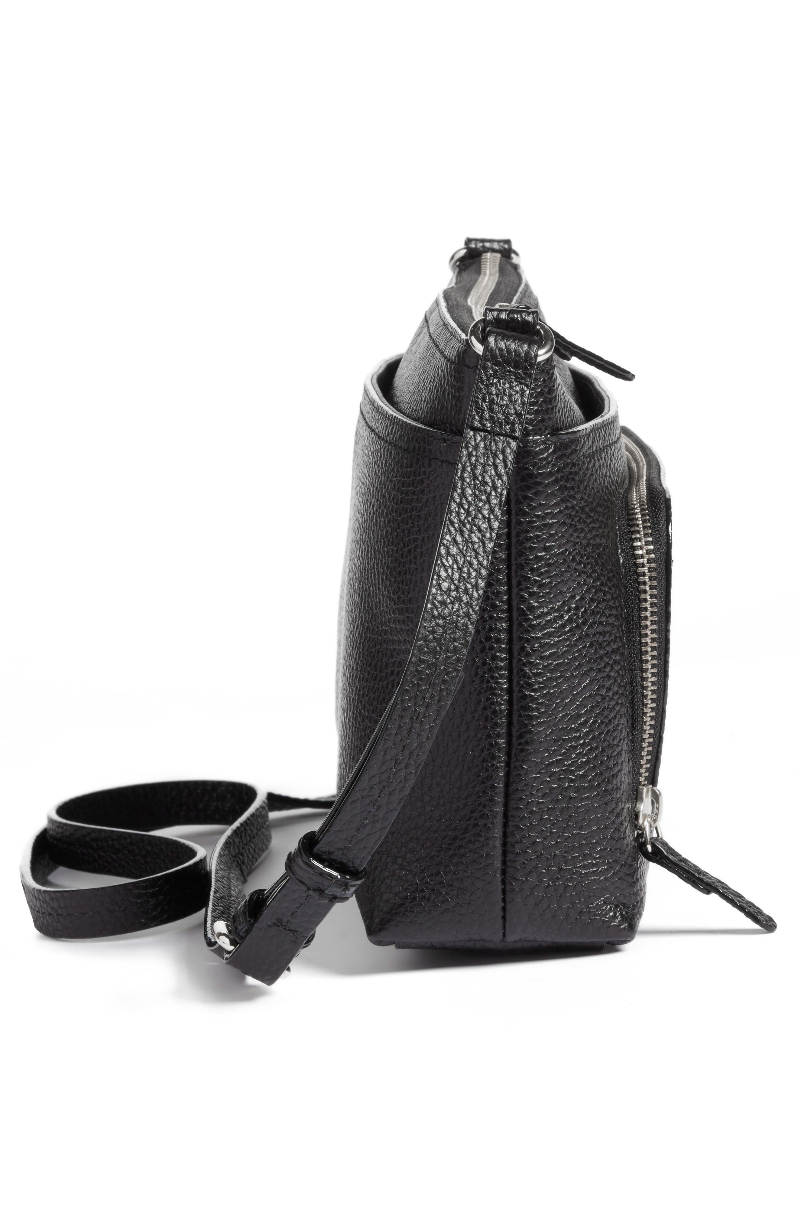 Pebbled Leather Crossbody Bag,                             Alternate thumbnail 5, color,                             Black