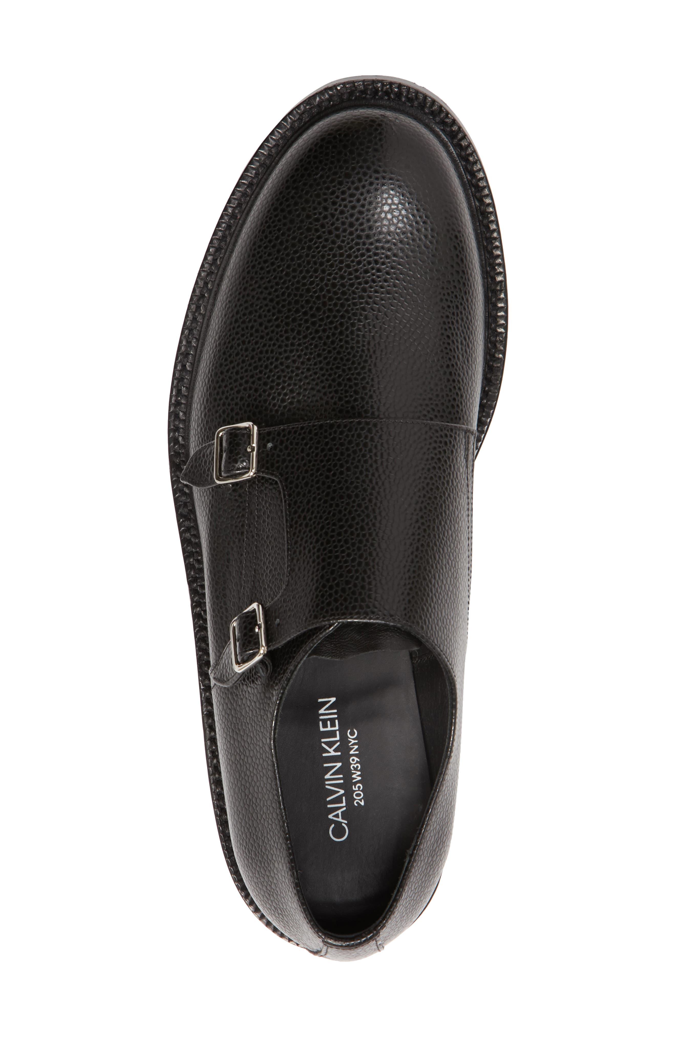 Hova Double Monk Strap Shoe,                             Alternate thumbnail 5, color,                             Black Leather