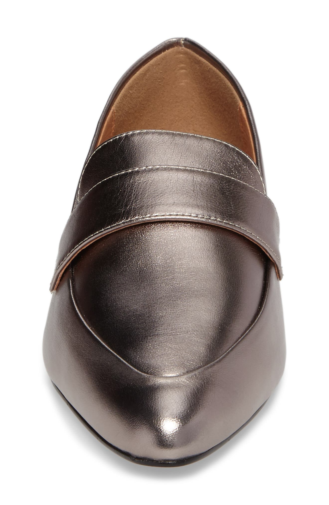 Camille Loafer,                             Alternate thumbnail 4, color,                             Pewter Metallic Leather