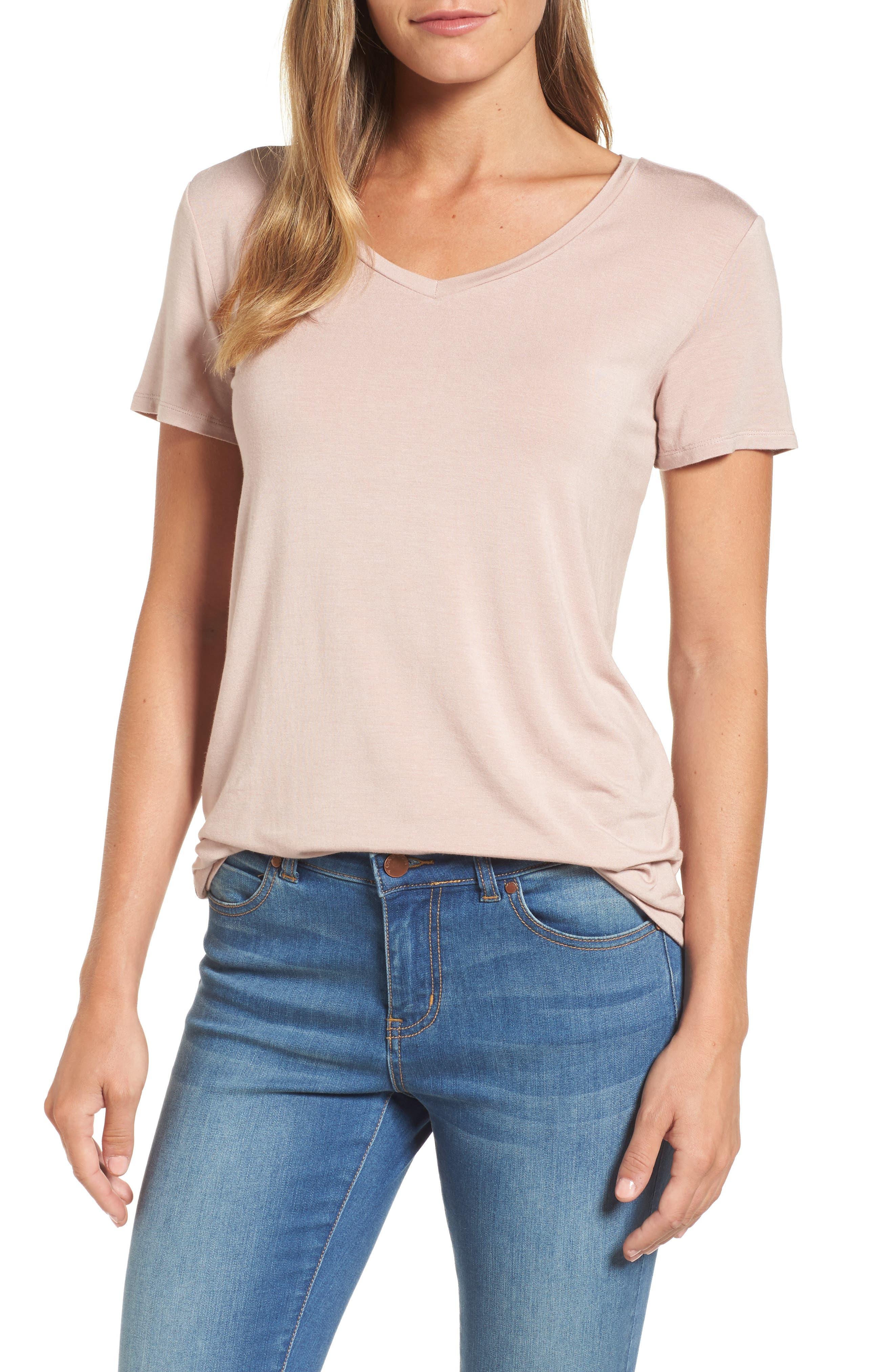 Alternate Image 1 Selected - Halogen® Modal Jersey V-Neck Tee (Regular & Petite)
