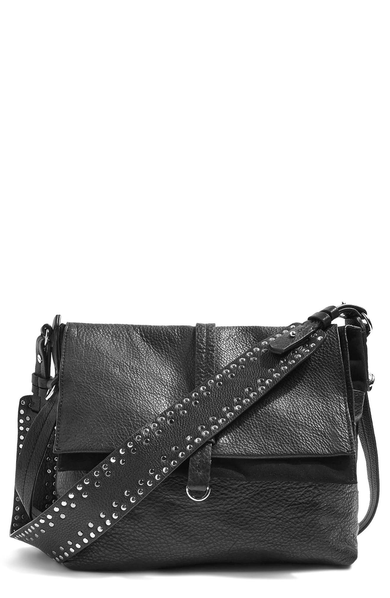 Premium Leather Studded Calfskin Hobo Bag,                             Main thumbnail 1, color,                             Black