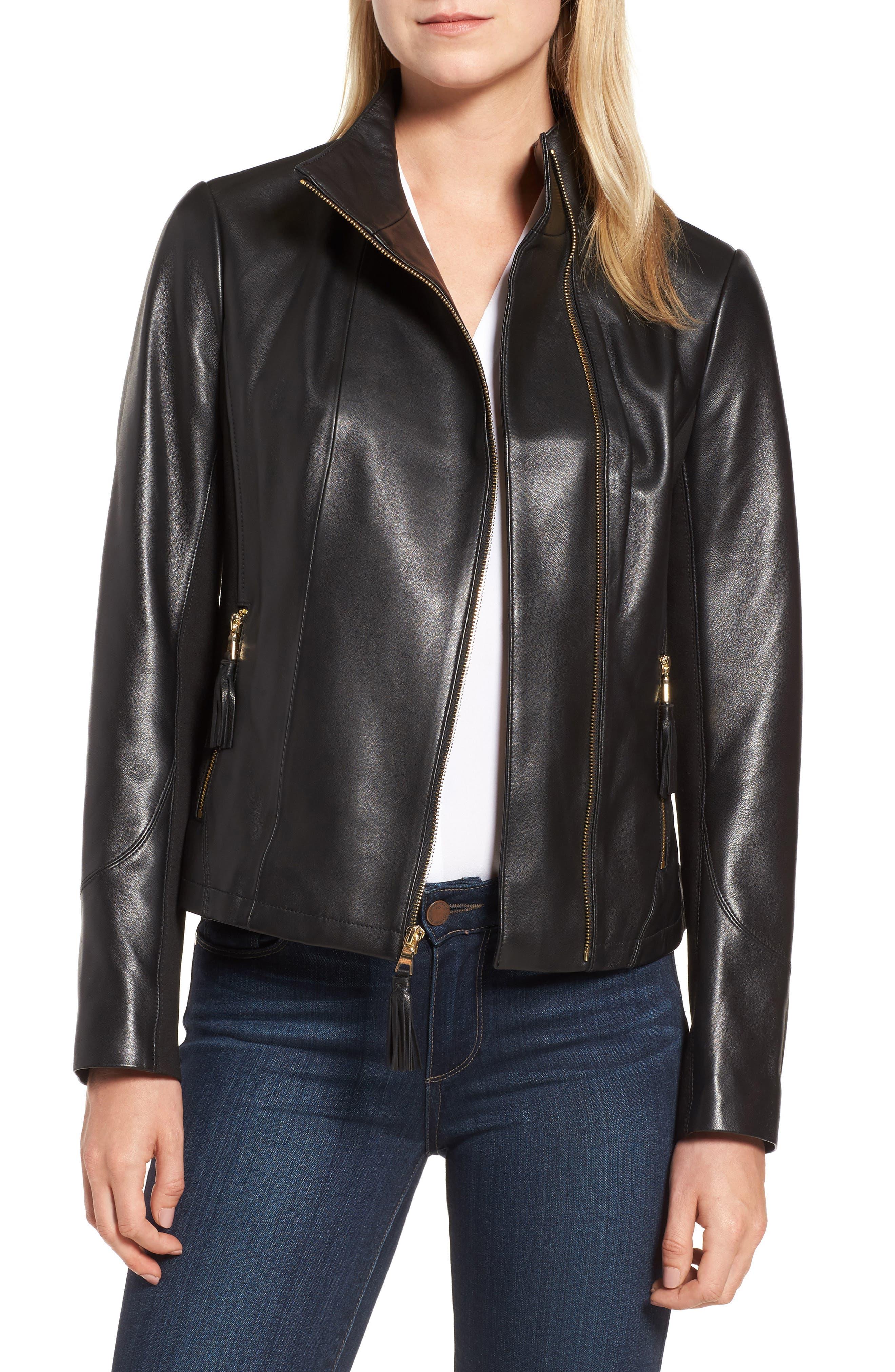 Ponte & Leather Jacket,                         Main,                         color, Black