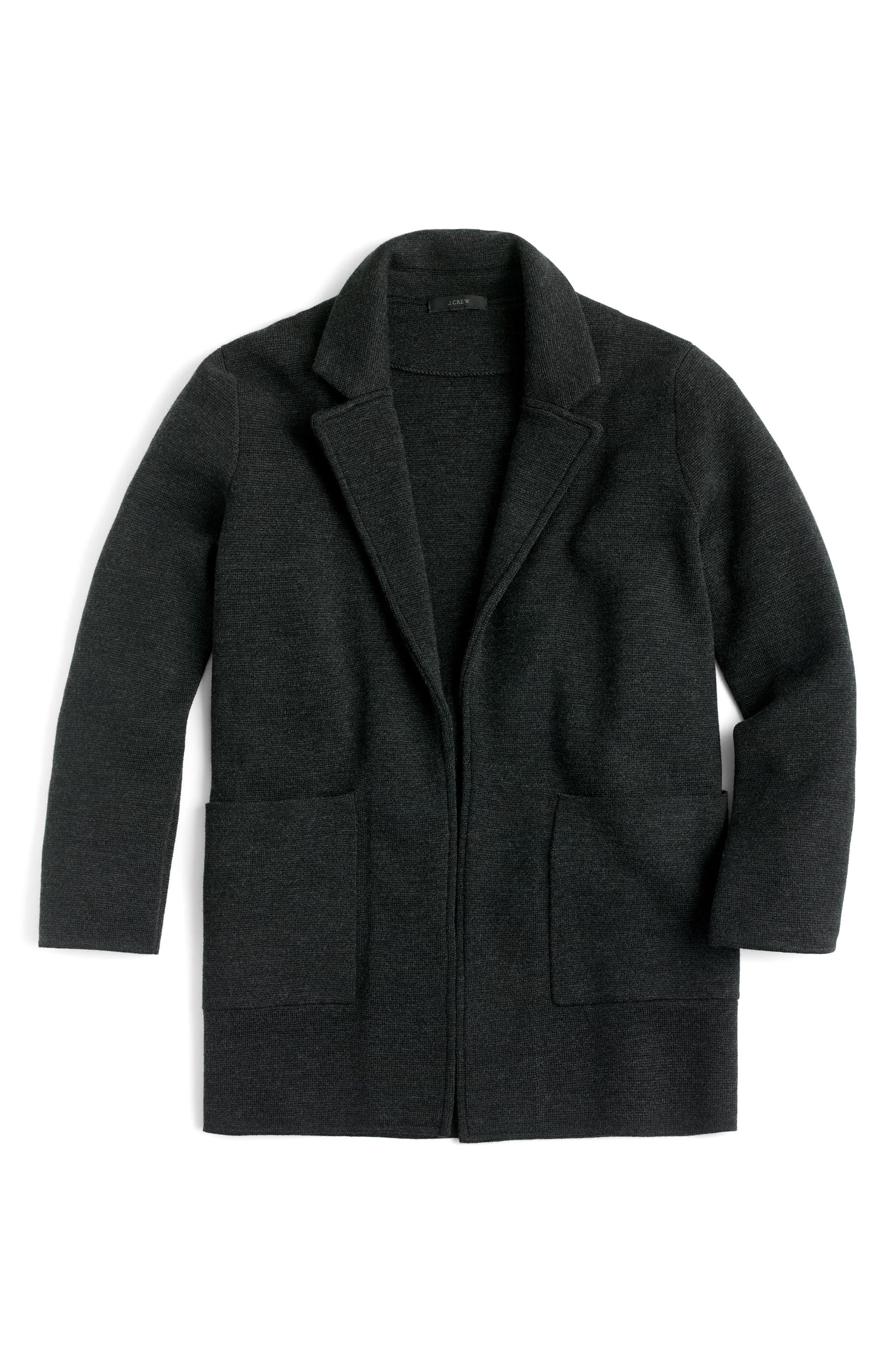 Open Front Sweater Blazer,                             Alternate thumbnail 3, color,                             Heather Coal