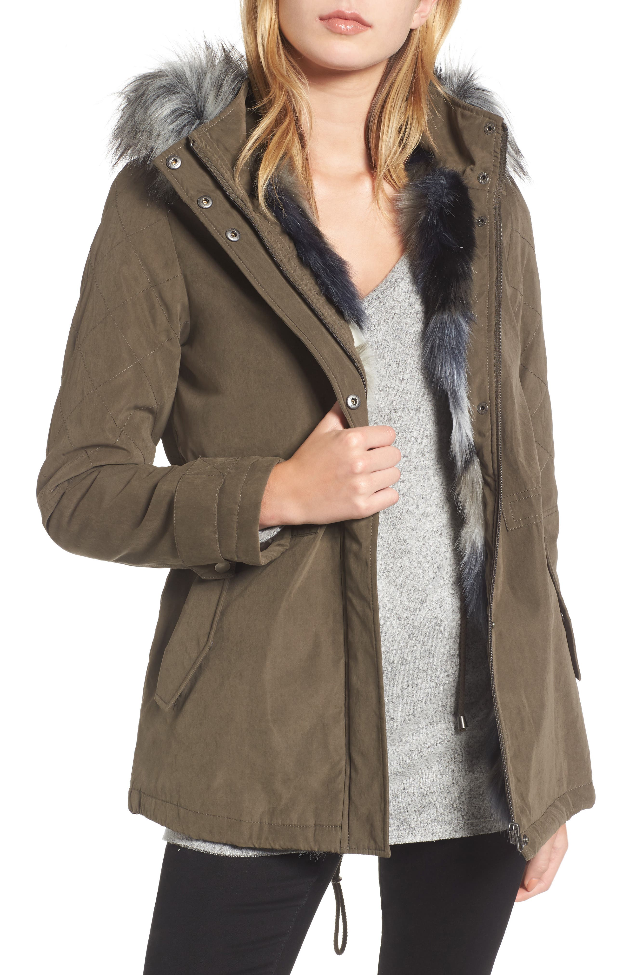 Quilted Sleeve Anorak with Faux Fur Trim,                         Main,                         color, Olive