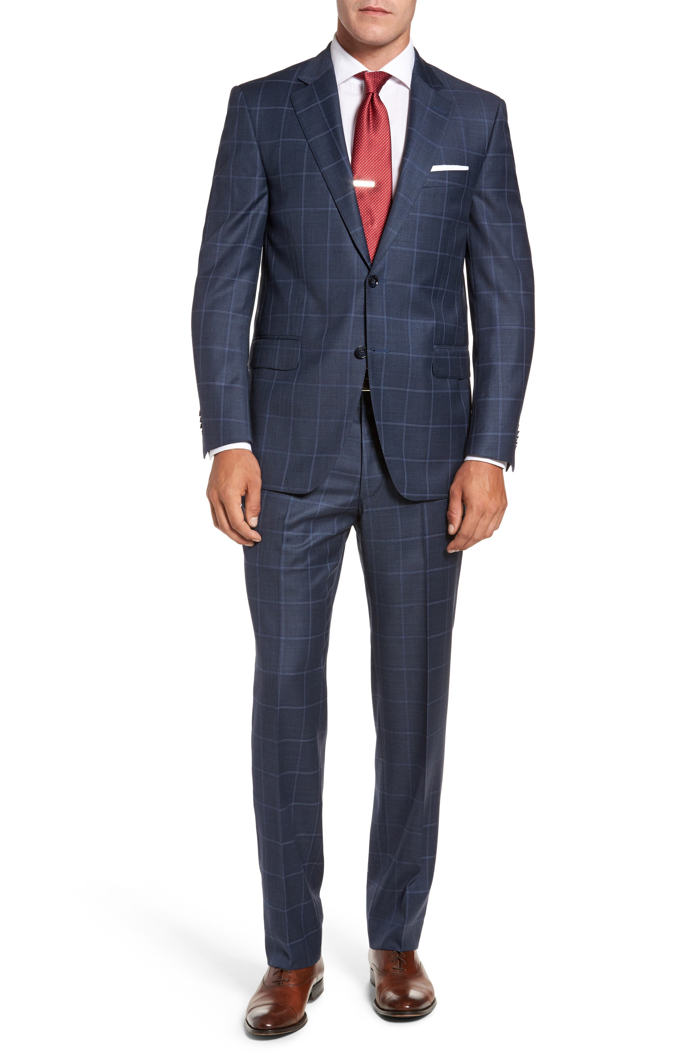 Flynn Classic Fit Windowpane Wool Suit,                         Main,                         color, Blue