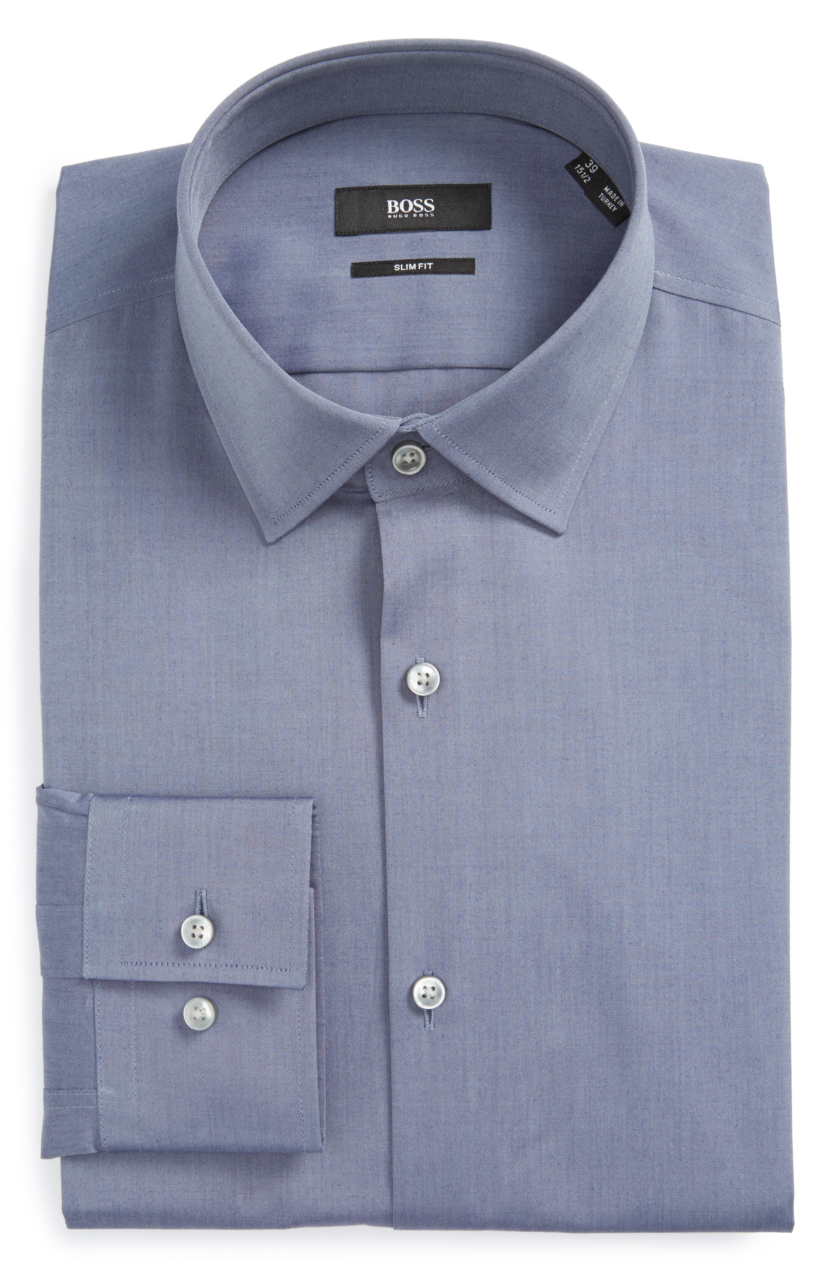 Main Image - BOSS Jenno Slim Fit Solid Dress Shirt
