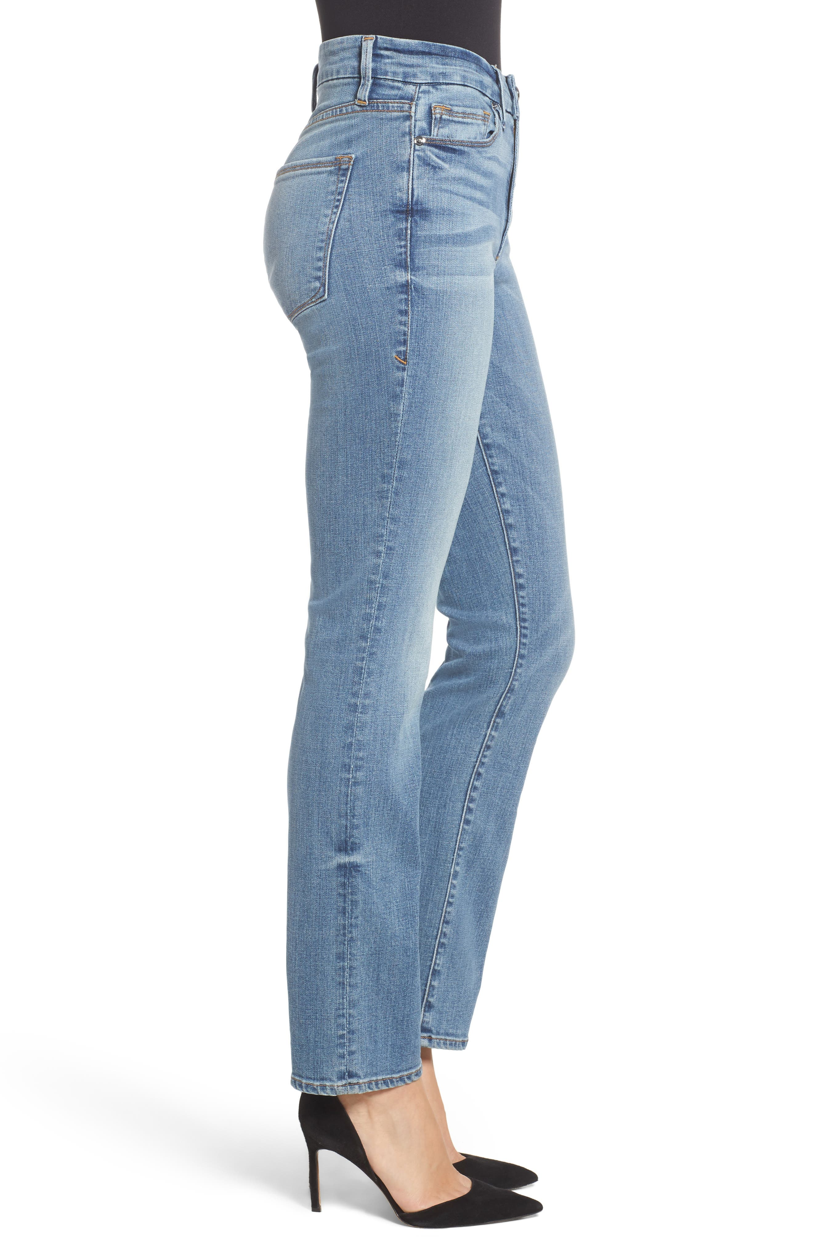 Alternate Image 4  - Good American Good Straight High Rise Jeans (Blue 087) (Regular & Plus Size)