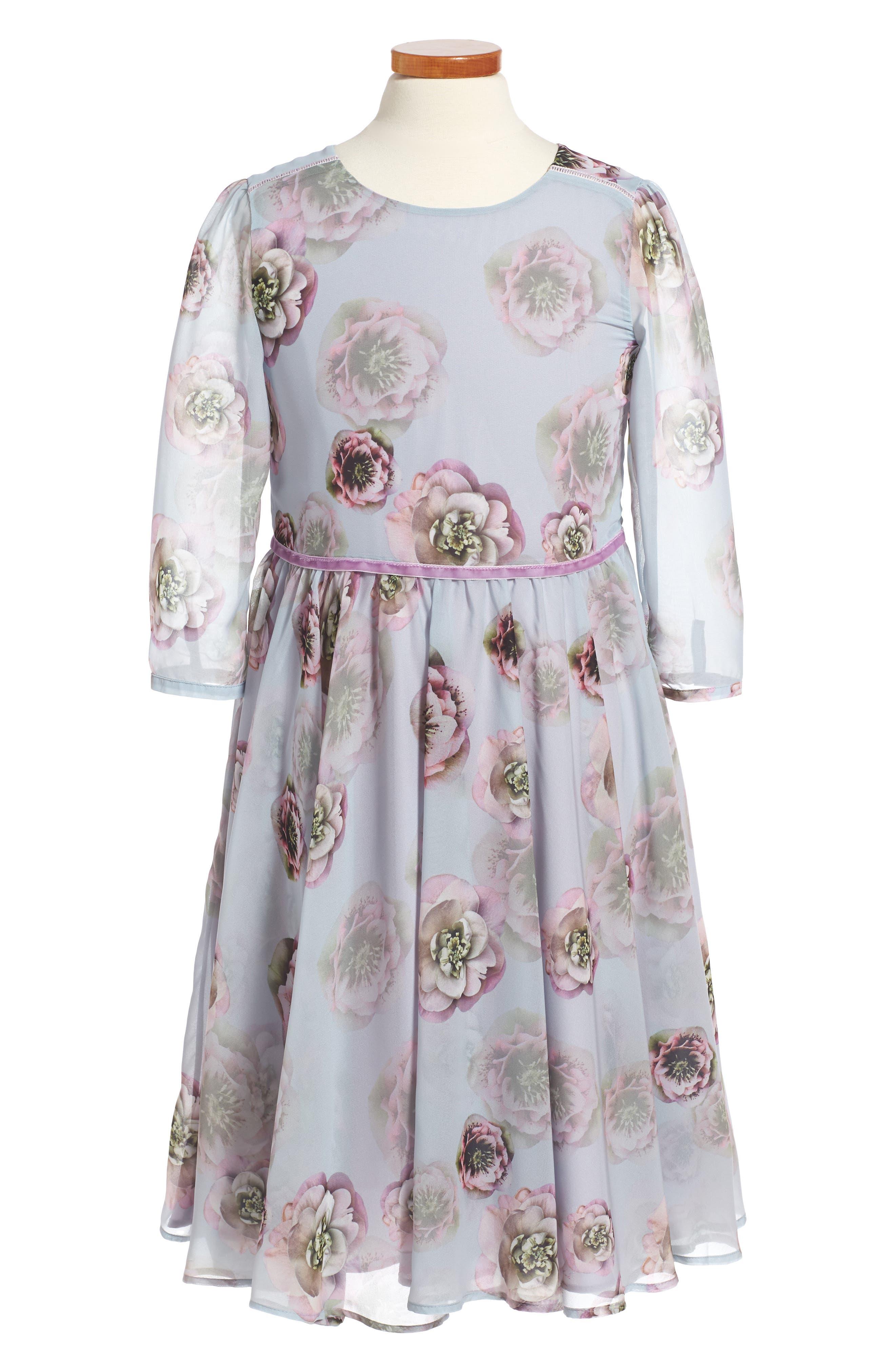 Oh My Soft Haze Floral Chiffon Dress (Little Girls & Big Girls)