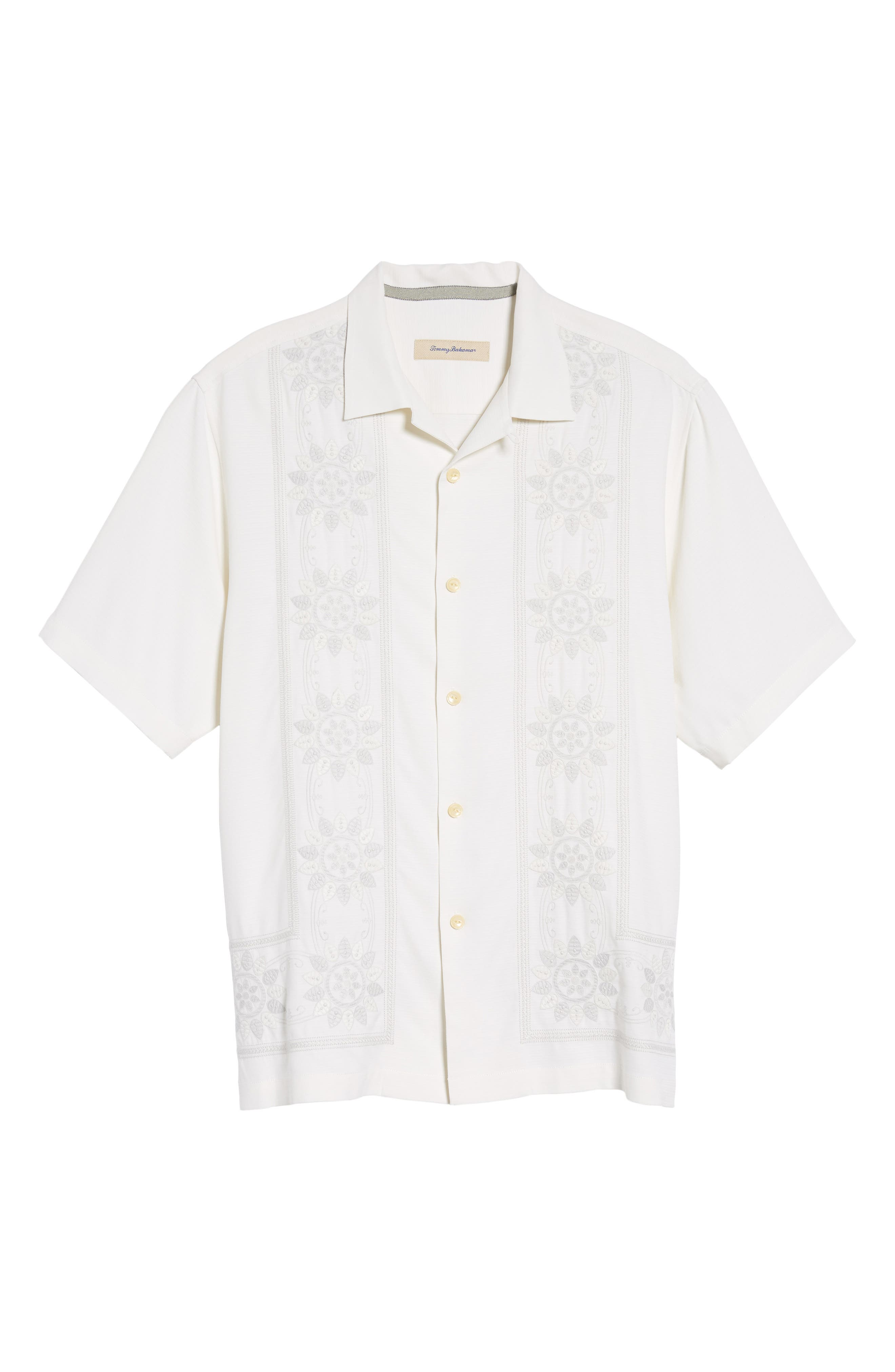 Alternate Image 6  - Tommy Bahama Tangier Tiles Embroidered Silk Woven Shirt