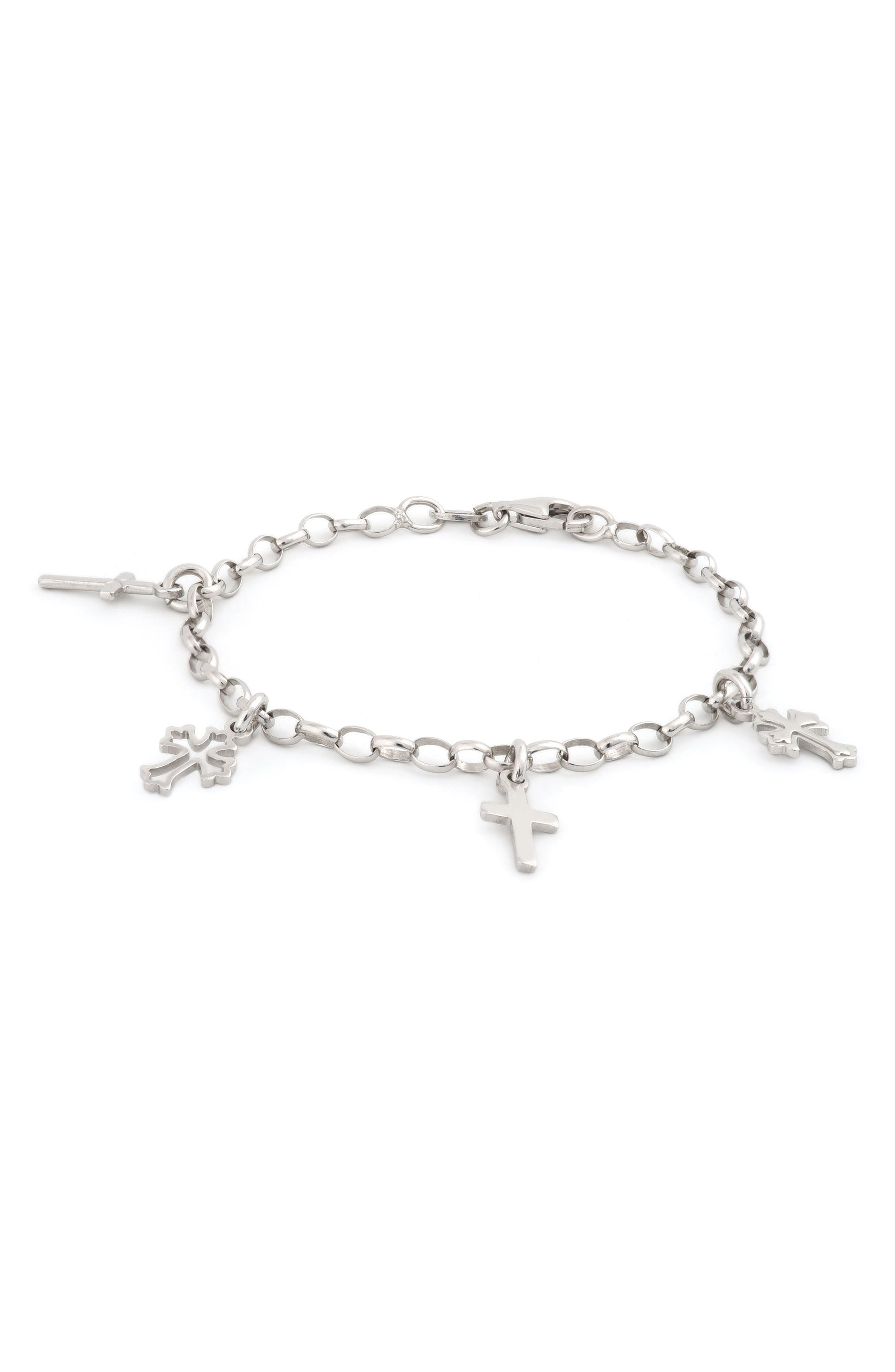 Main Image - Speidel Sterling Silver Cross Bracelet (Girls)