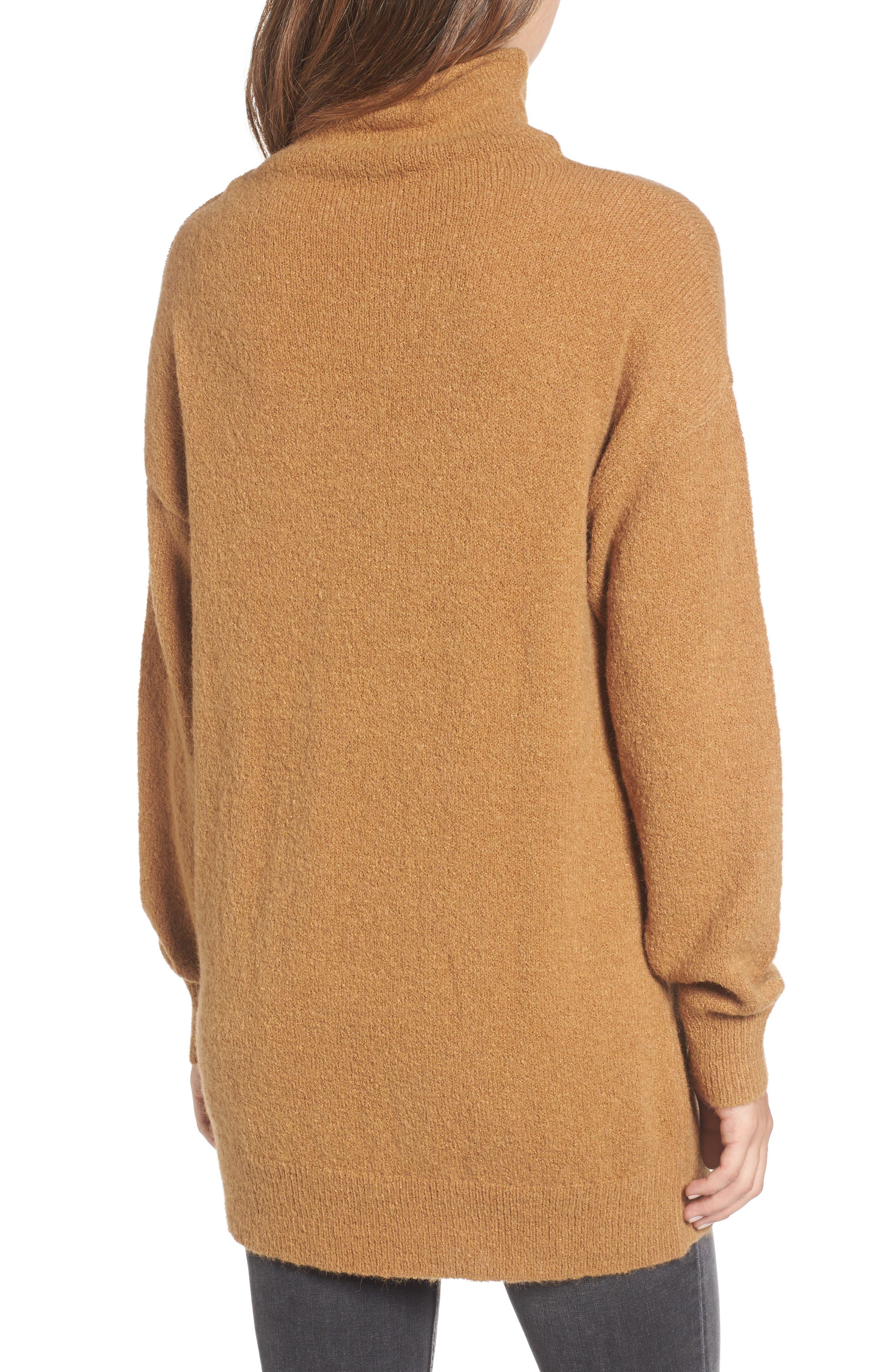 Bouclé Turtleneck Tunic Sweater,                             Alternate thumbnail 2, color,                             Brown Cattail