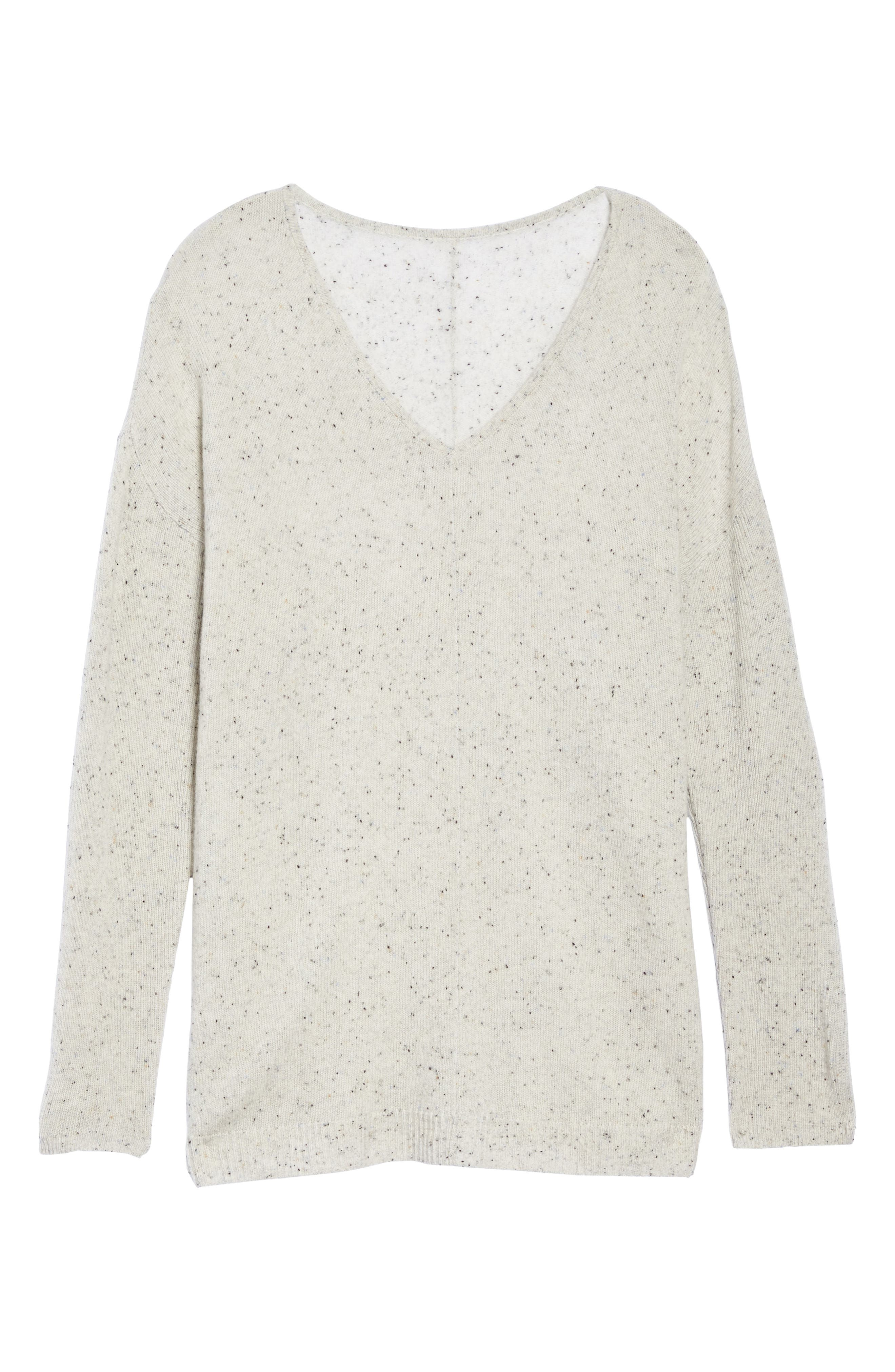 Easy V-Neck Wool & Cashmere Pullover,                             Alternate thumbnail 6, color,                             Grey Light Heather