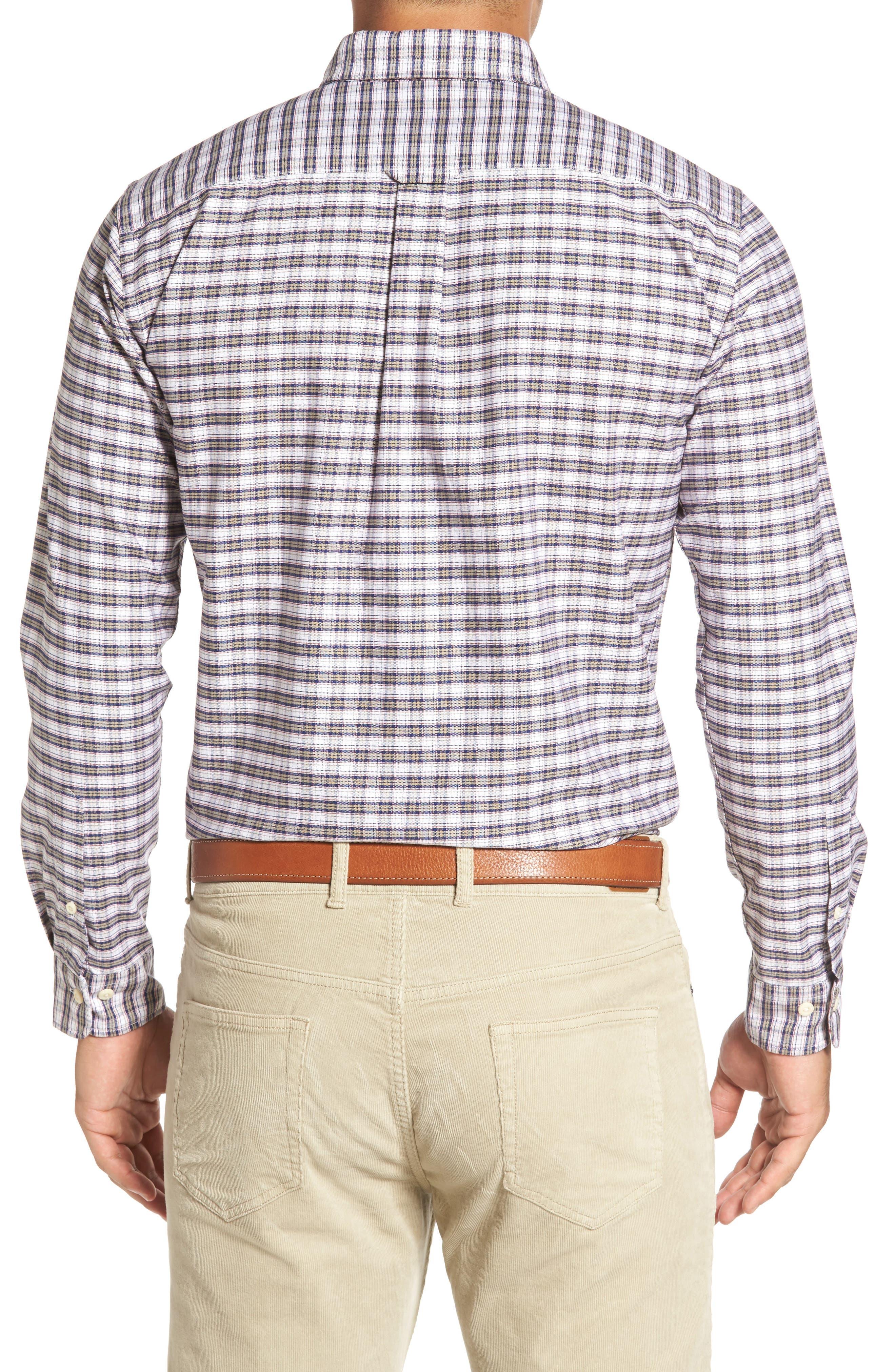 Crown Vintage Plaid Regular Fit Sport Shirt,                             Alternate thumbnail 2, color,                             Patriot Navy