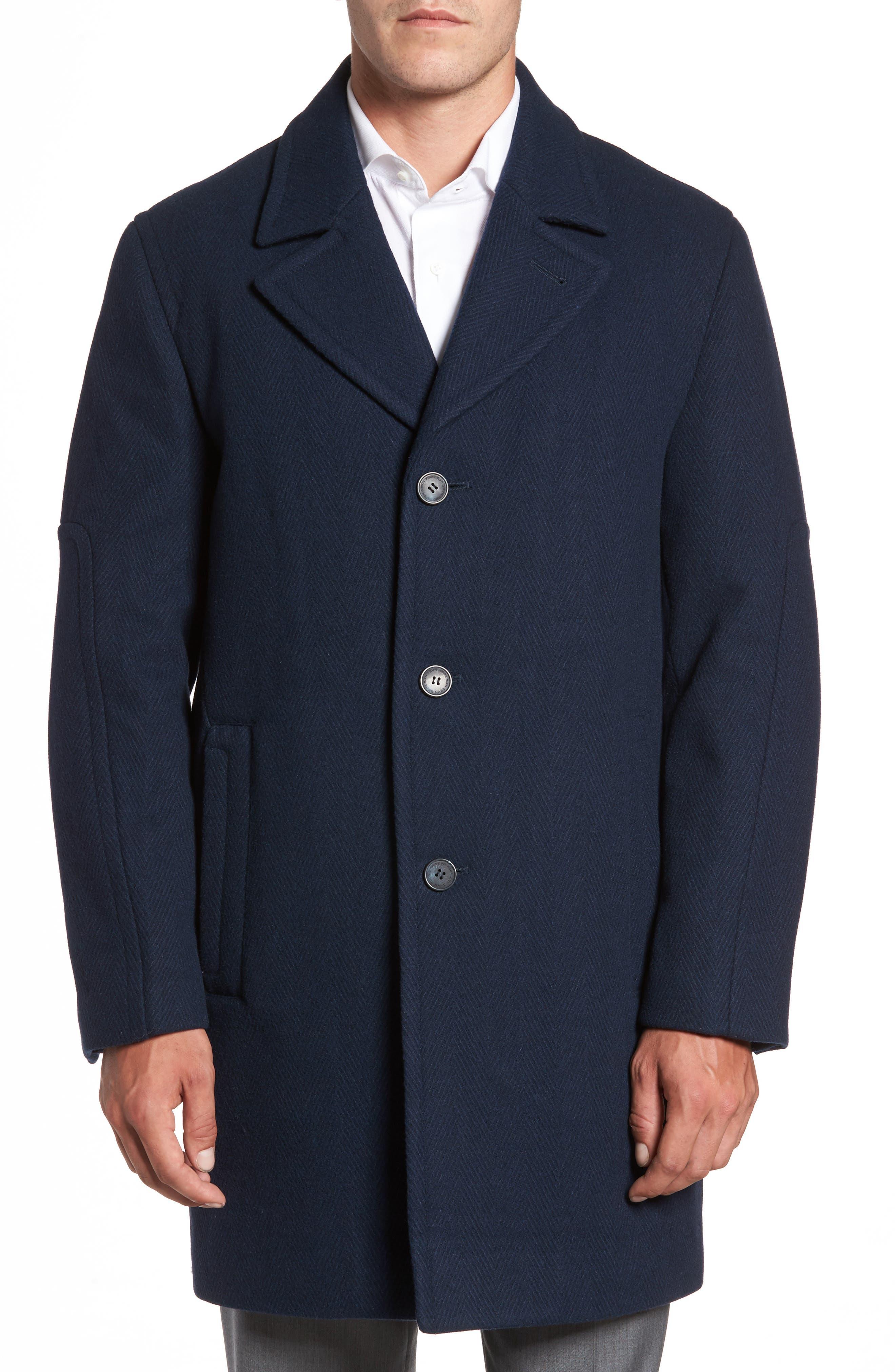 Herringbone Wool Blend Car Coat,                         Main,                         color, Ink