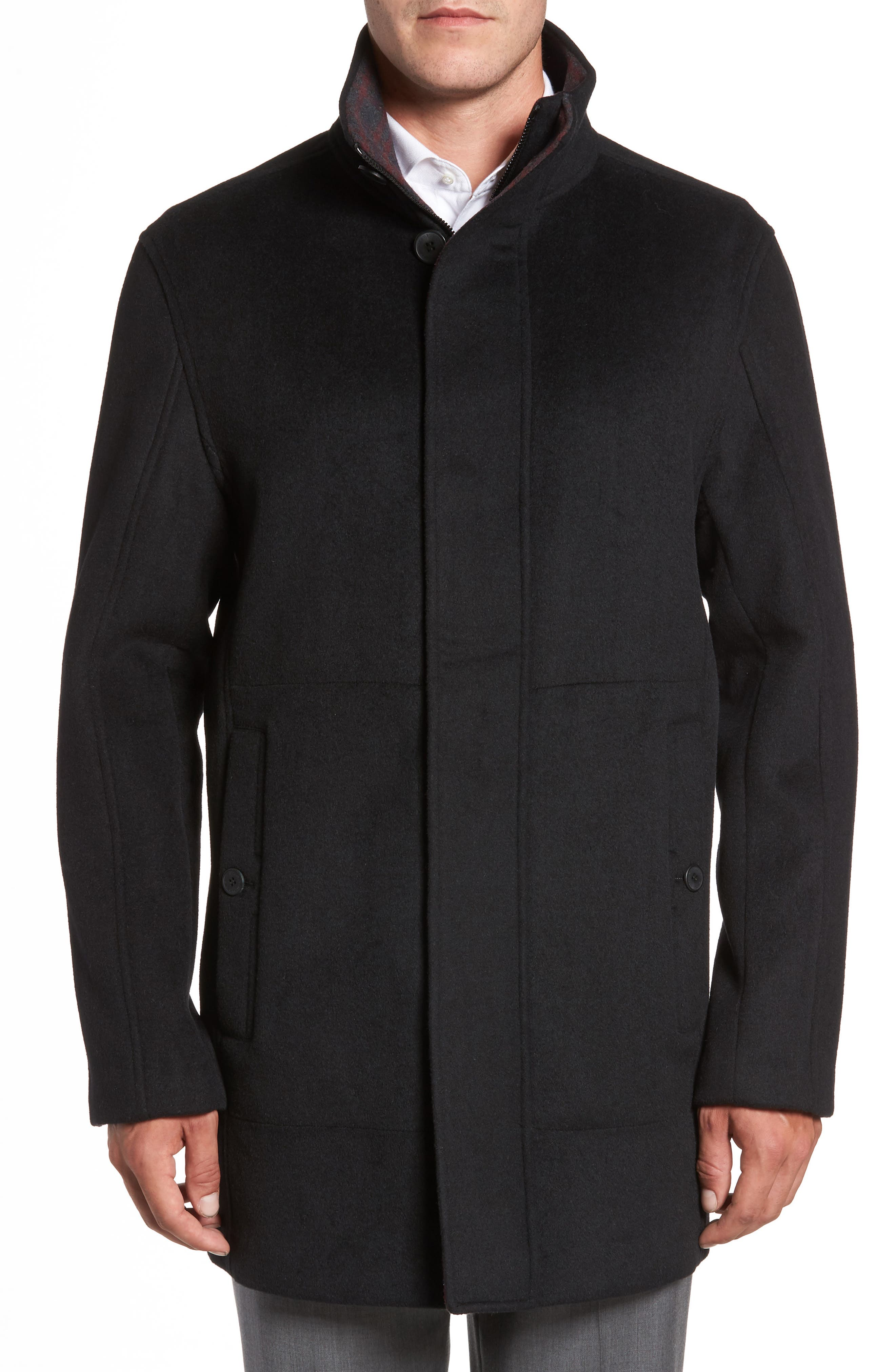 Double Face Wool Blend Car Coat,                         Main,                         color, Black