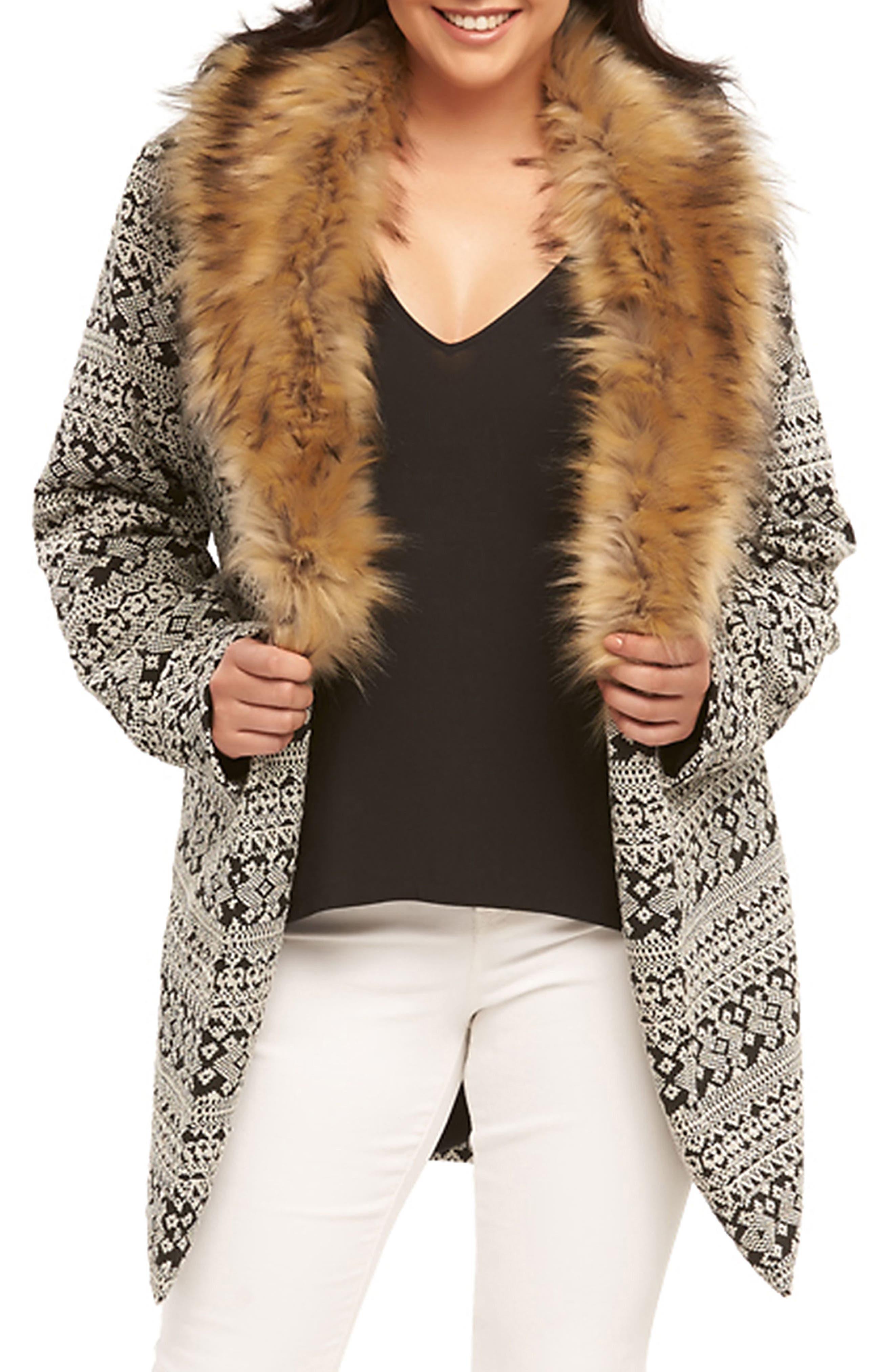Rachelle Faux Fur Collar Coat,                             Alternate thumbnail 5, color,                             Cream/ Back Textured Diamonds