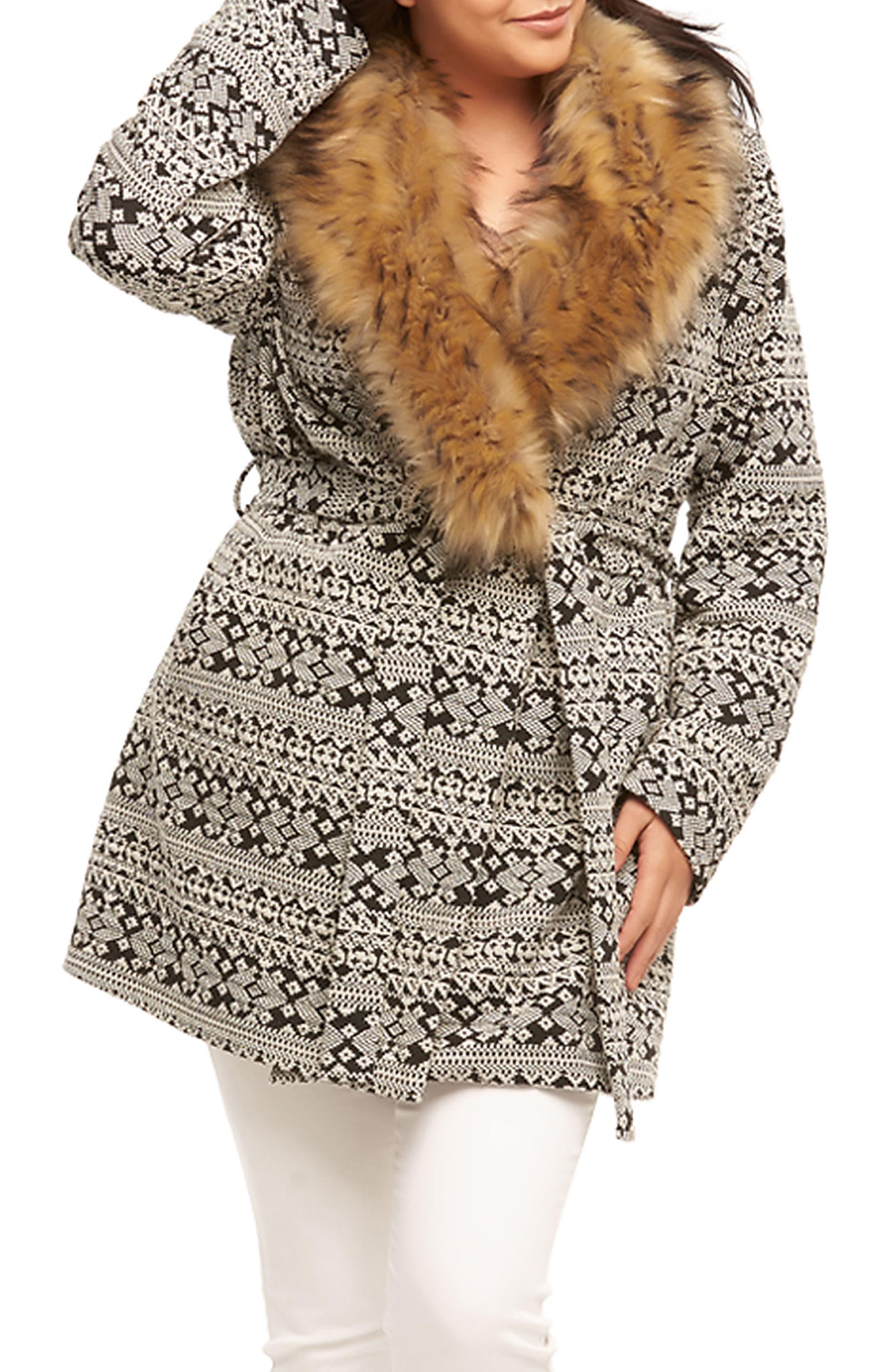 Rachelle Faux Fur Collar Coat,                             Main thumbnail 1, color,                             Cream/ Back Textured Diamonds