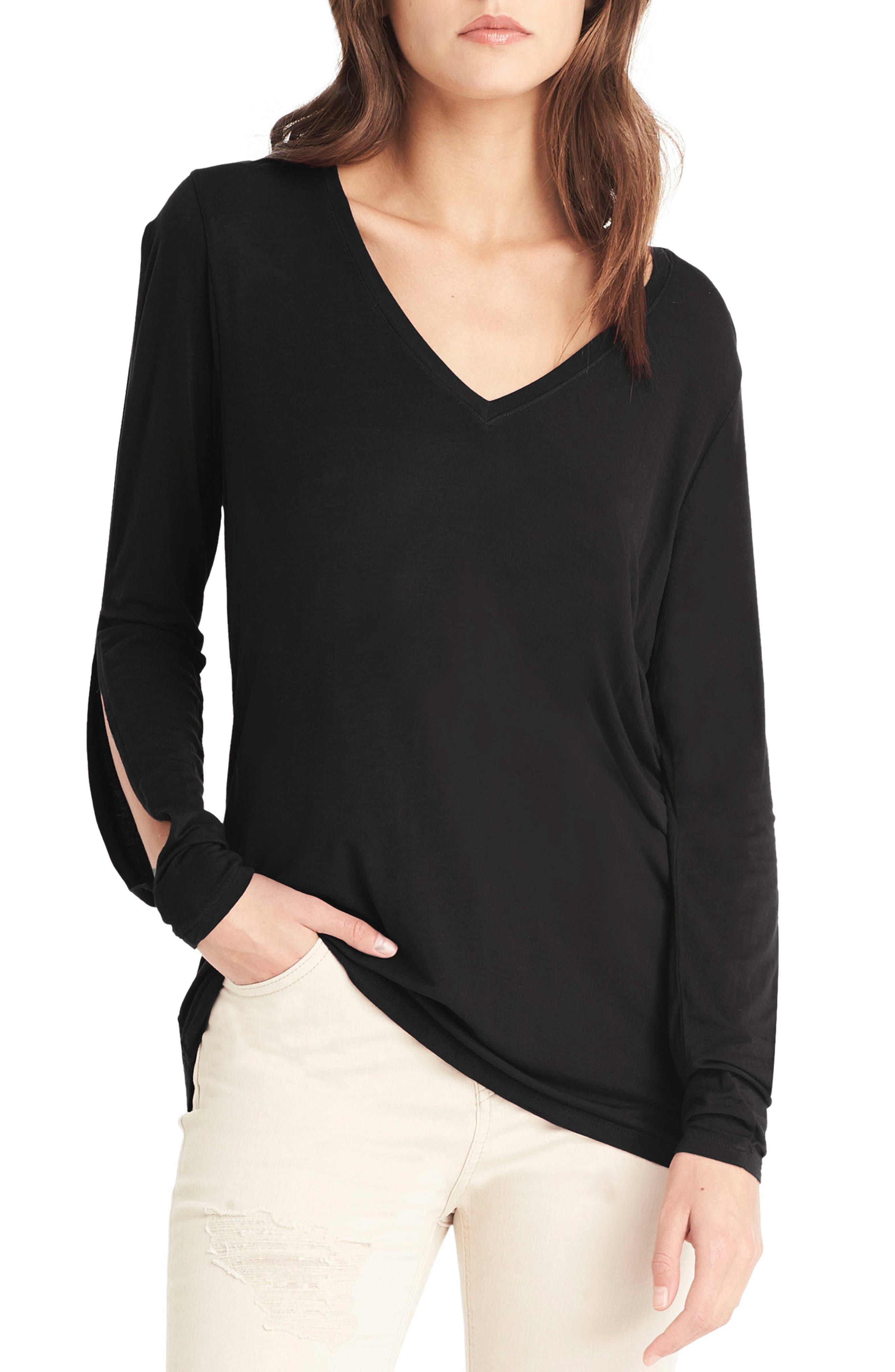 Slit Sleeve Top,                         Main,                         color, Black