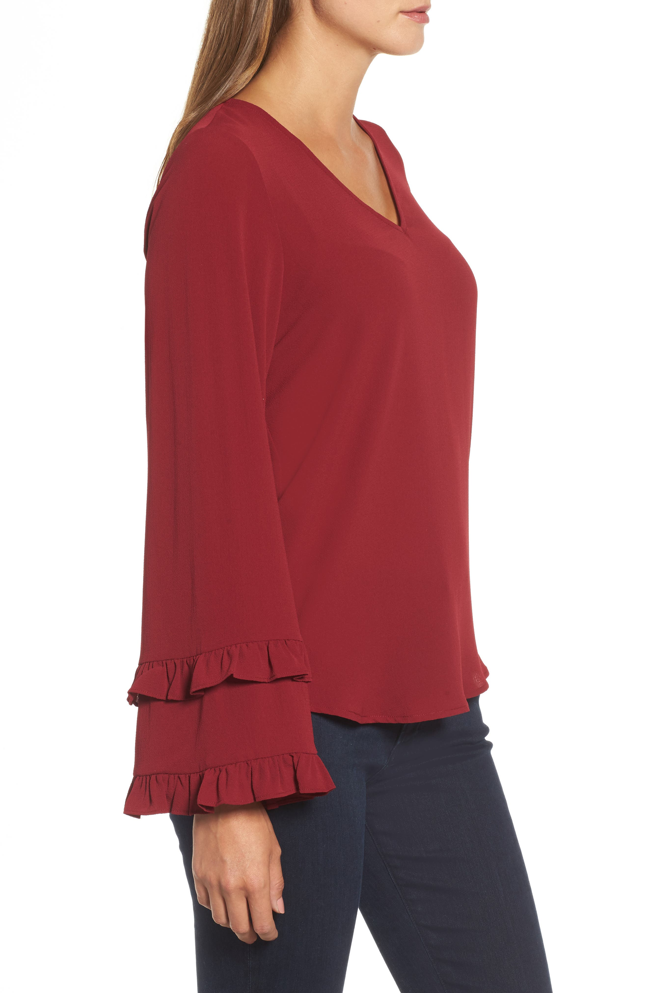 Ruffle Bell Sleeve Top,                             Alternate thumbnail 3, color,                             Wine