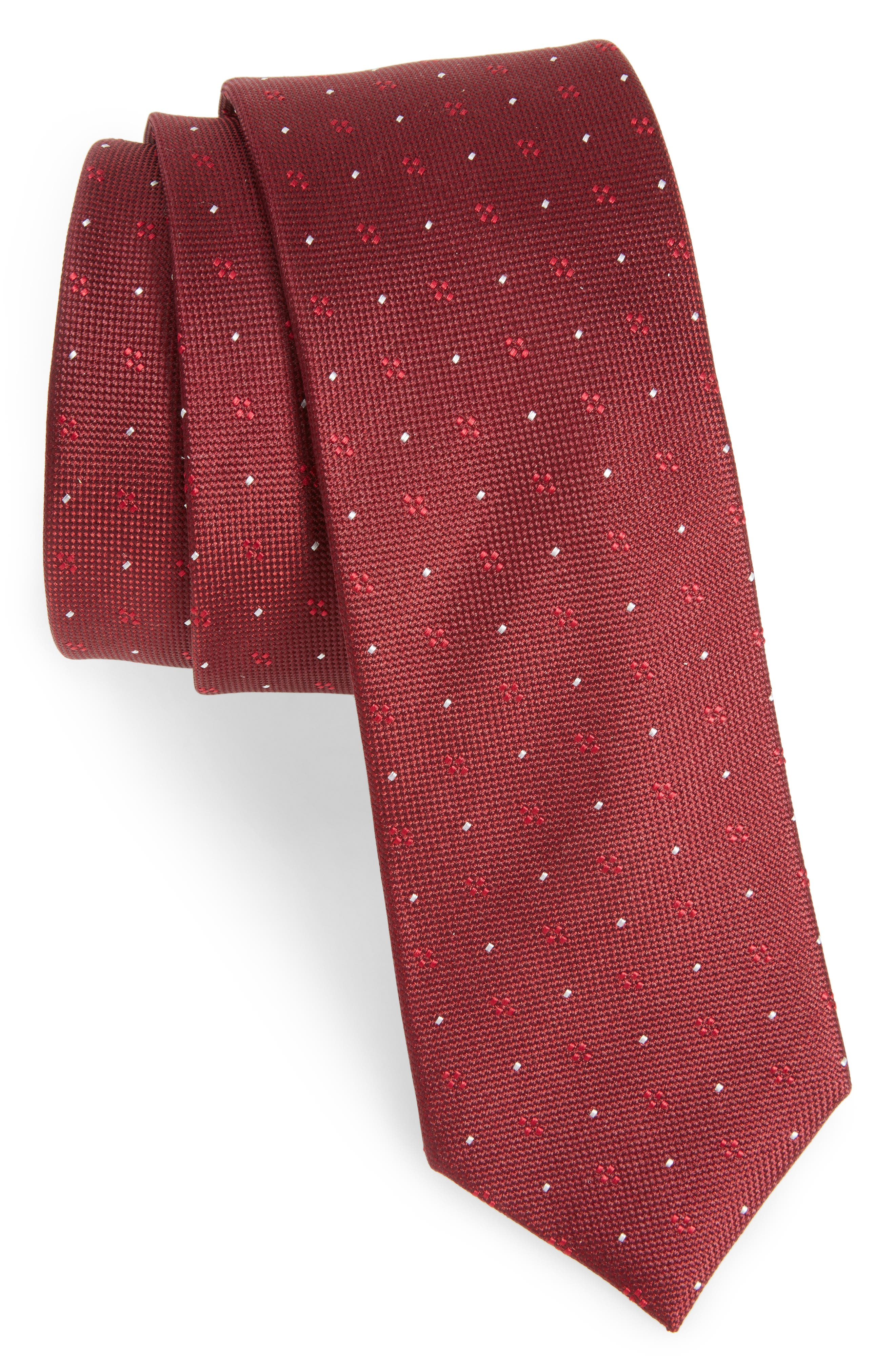 Geo Key Geometric Silk Tie,                         Main,                         color, Burgundy