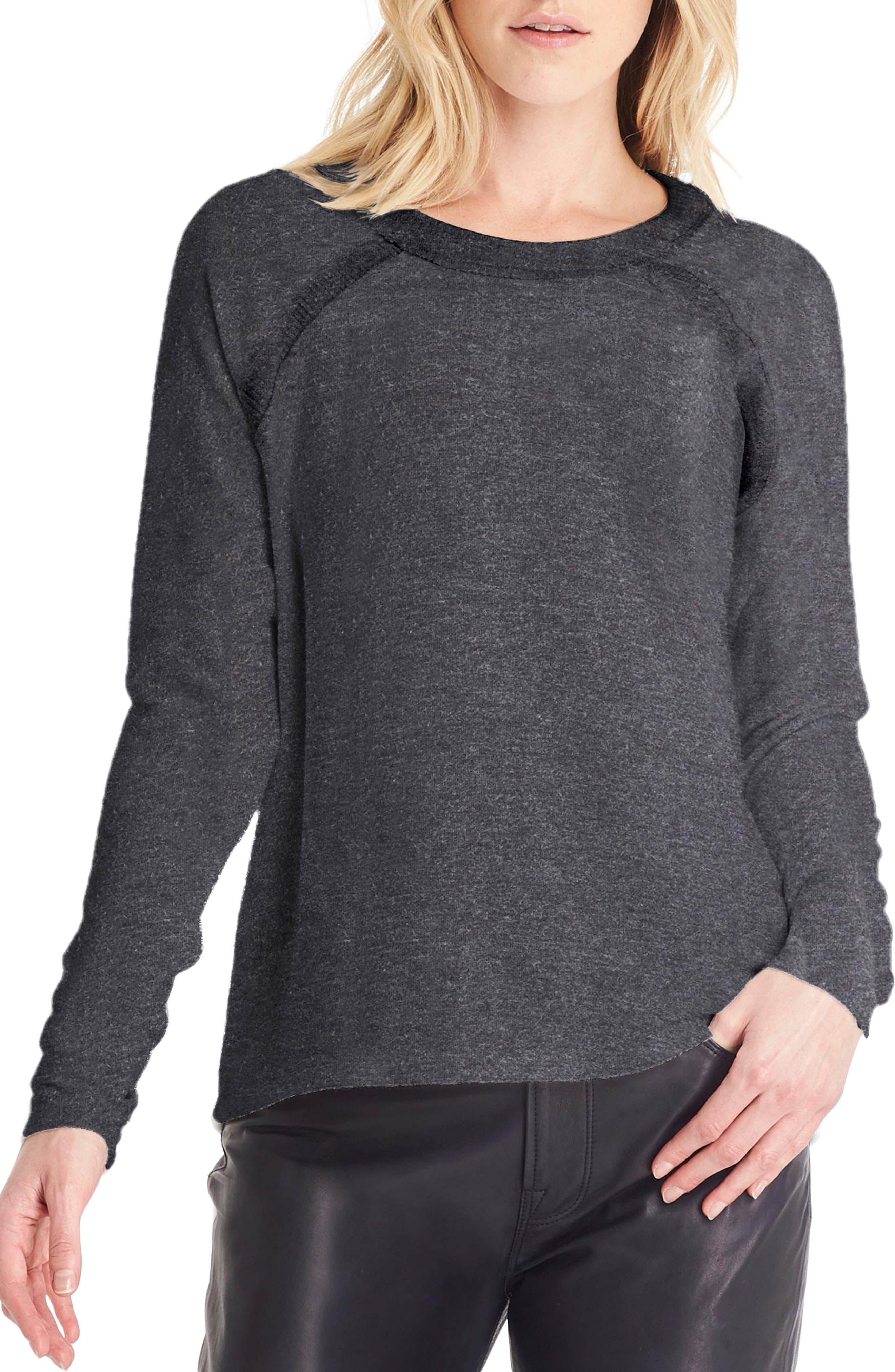 Thumbhole Sleeve Top,                         Main,                         color, Charcoal