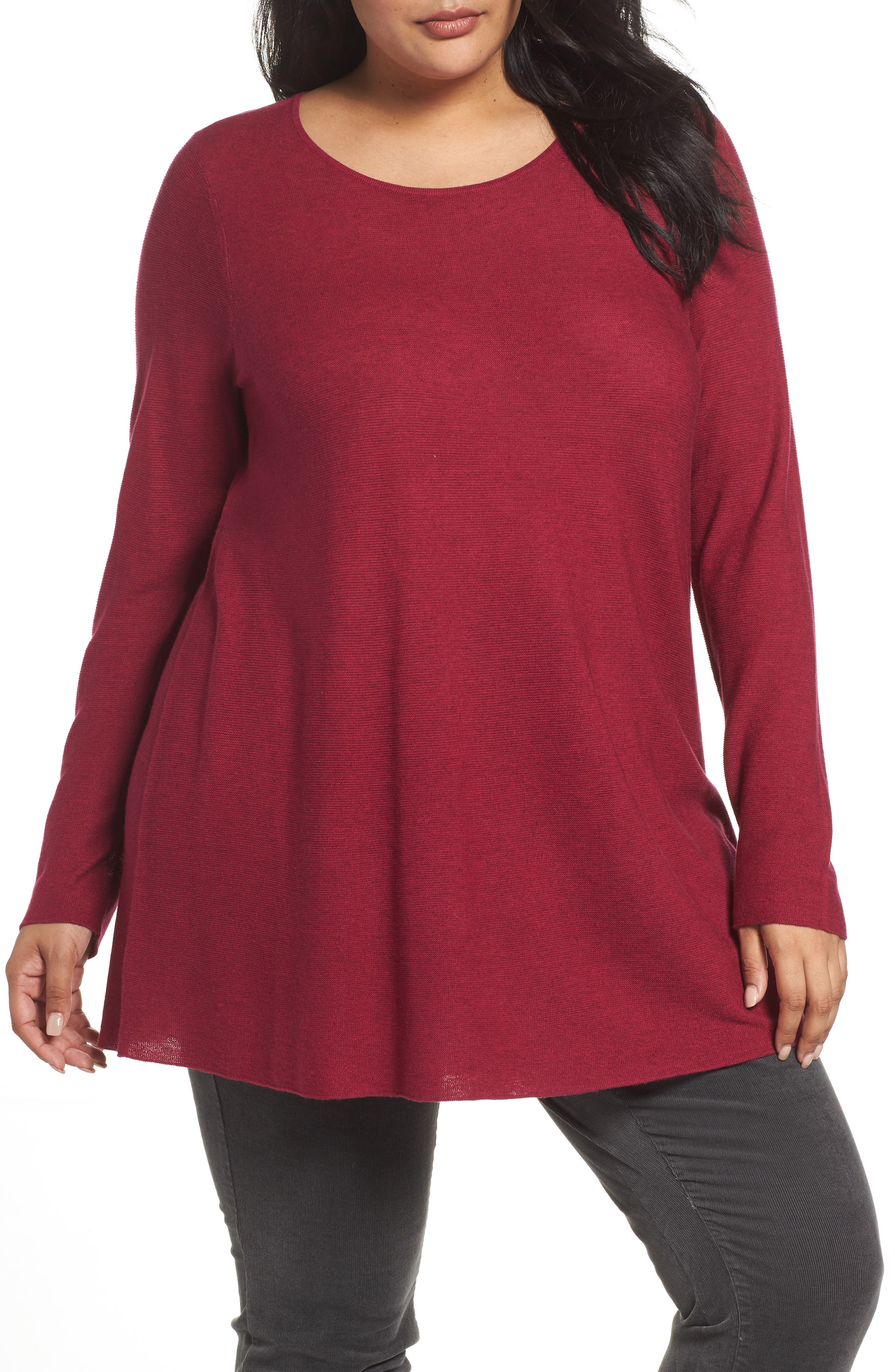 Eileen Fisher Jewel Neck Tunic Sweater (Plus Size)