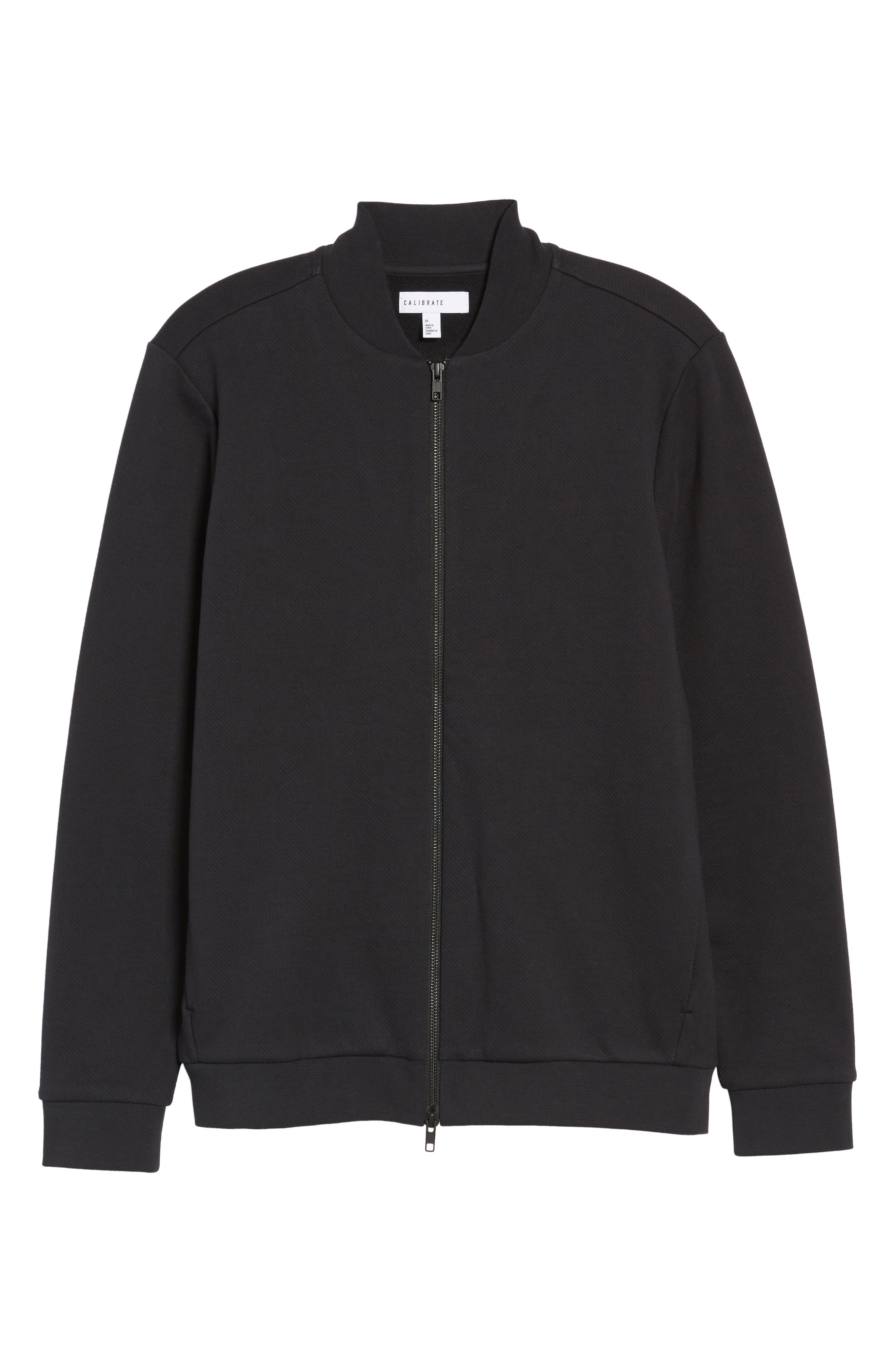 Zip Fleece Bomber Jacket,                             Alternate thumbnail 5, color,                             Black Caviar