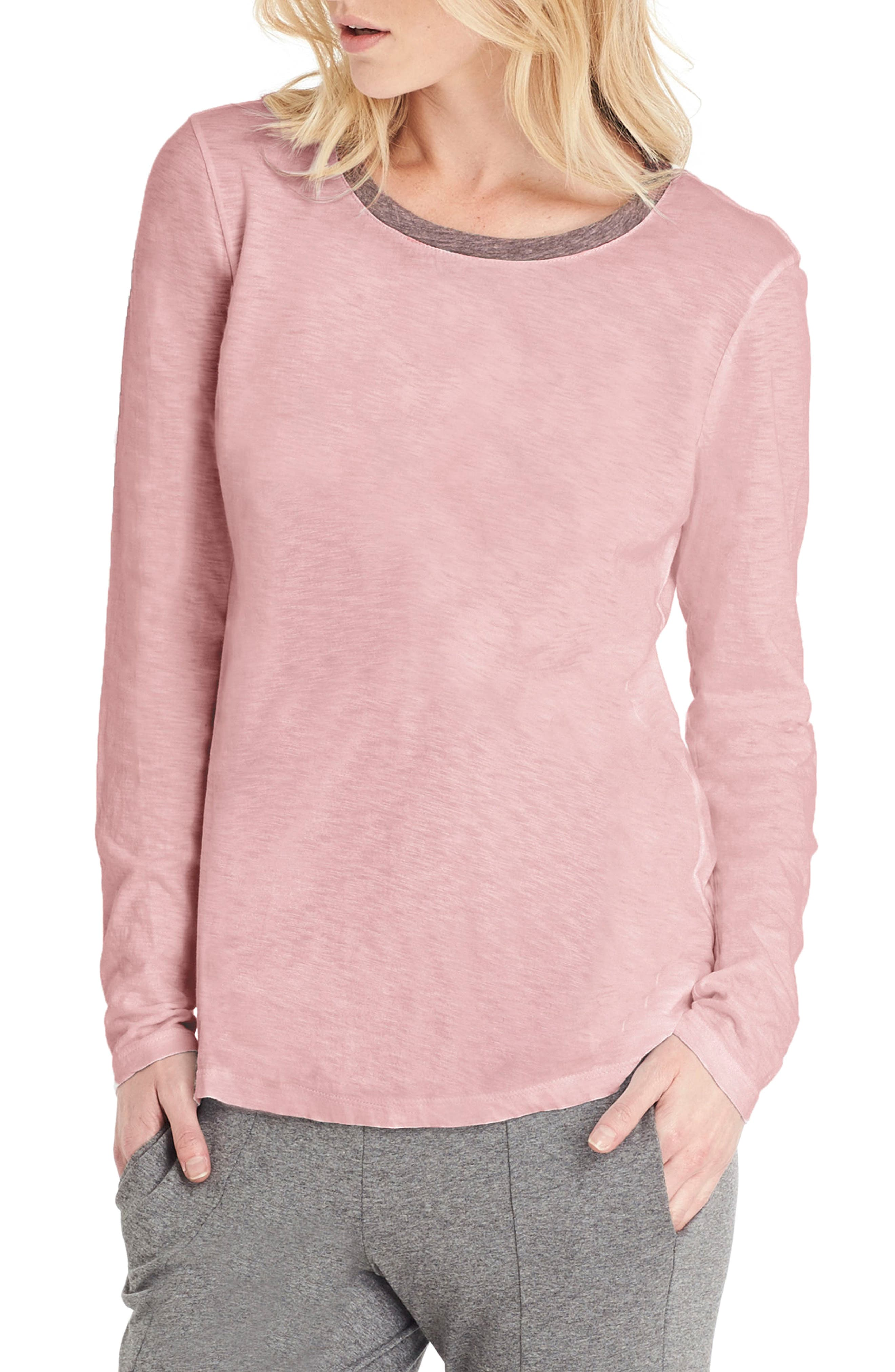 Long Sleeve Ringer Tee,                         Main,                         color, Nymph