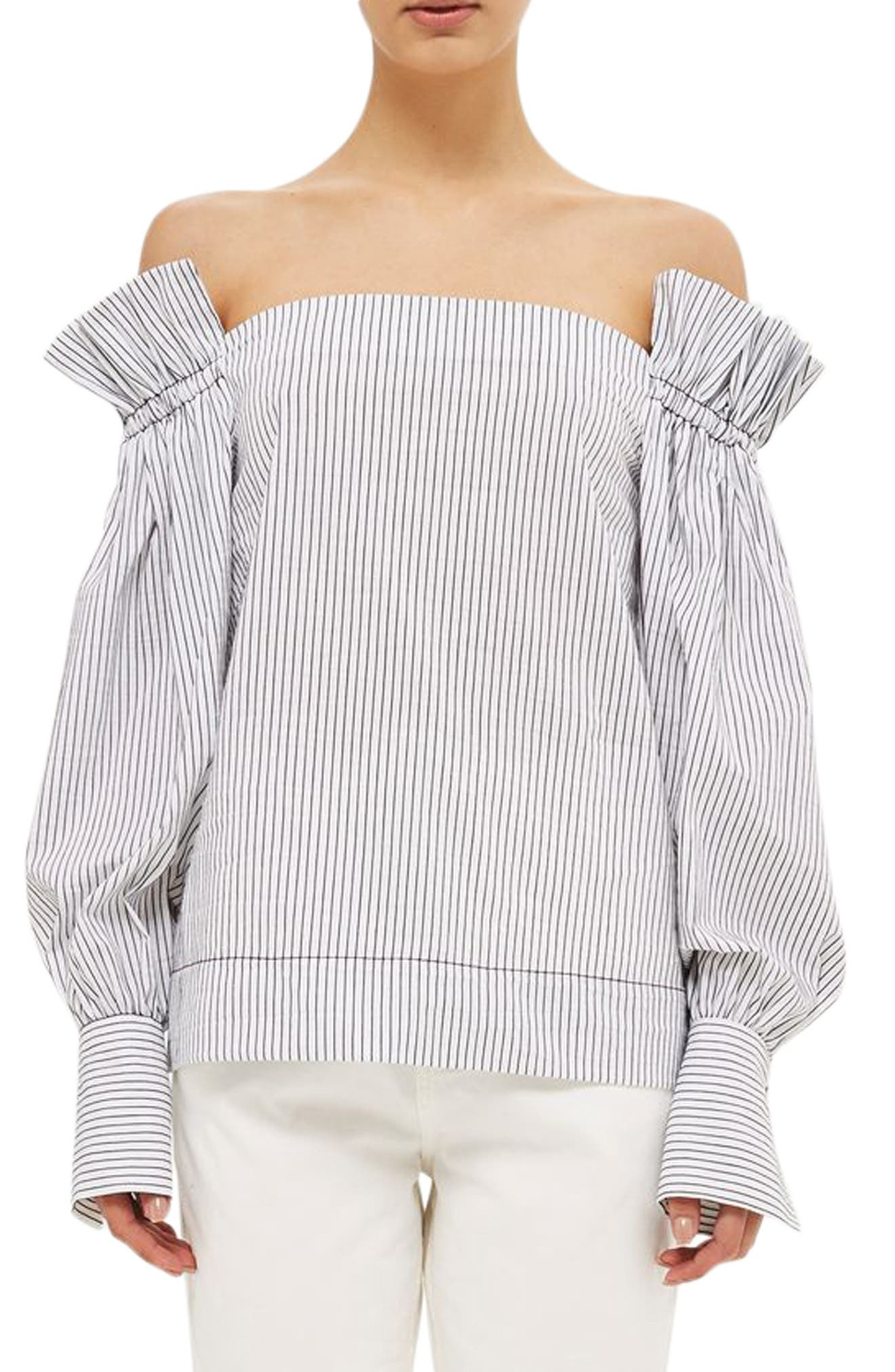 Topshop Boutique Stripe Ruched Sleeve Off the Shoulder Top
