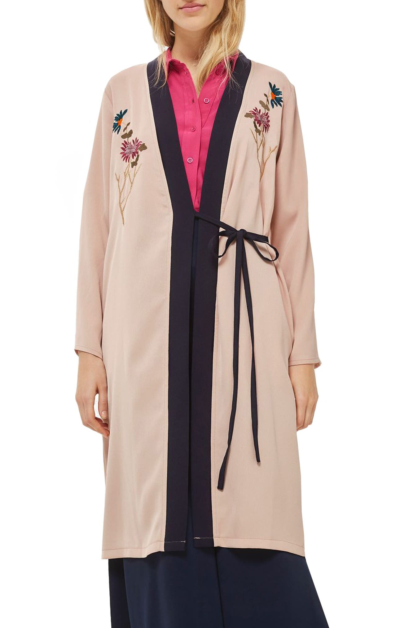 Tiger Embroidered Duster Coat,                         Main,                         color, Nude