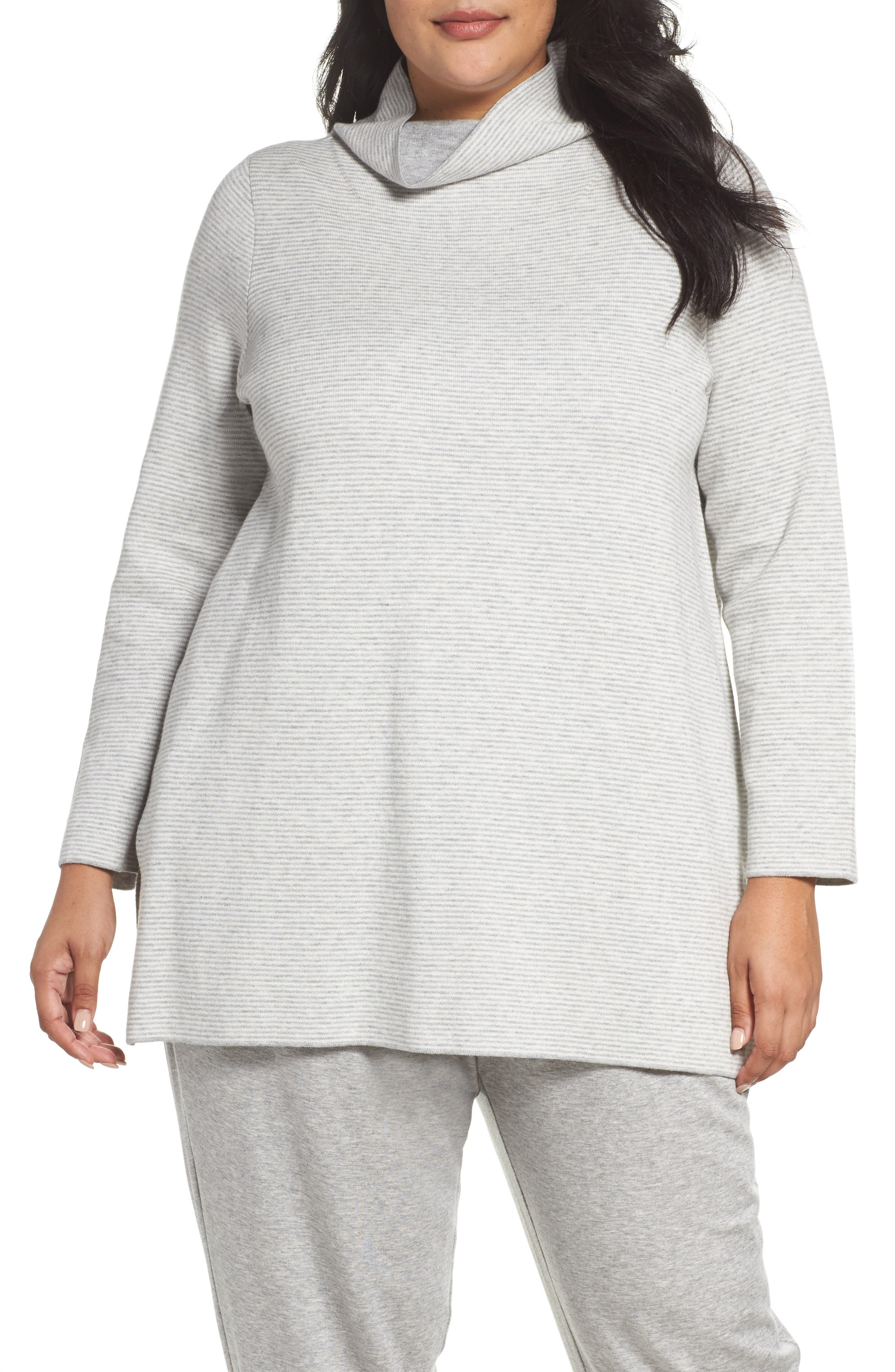 Alternate Image 1 Selected - Eileen Fisher Reversible Funnel Neck Tunic Sweater (Plus Size)