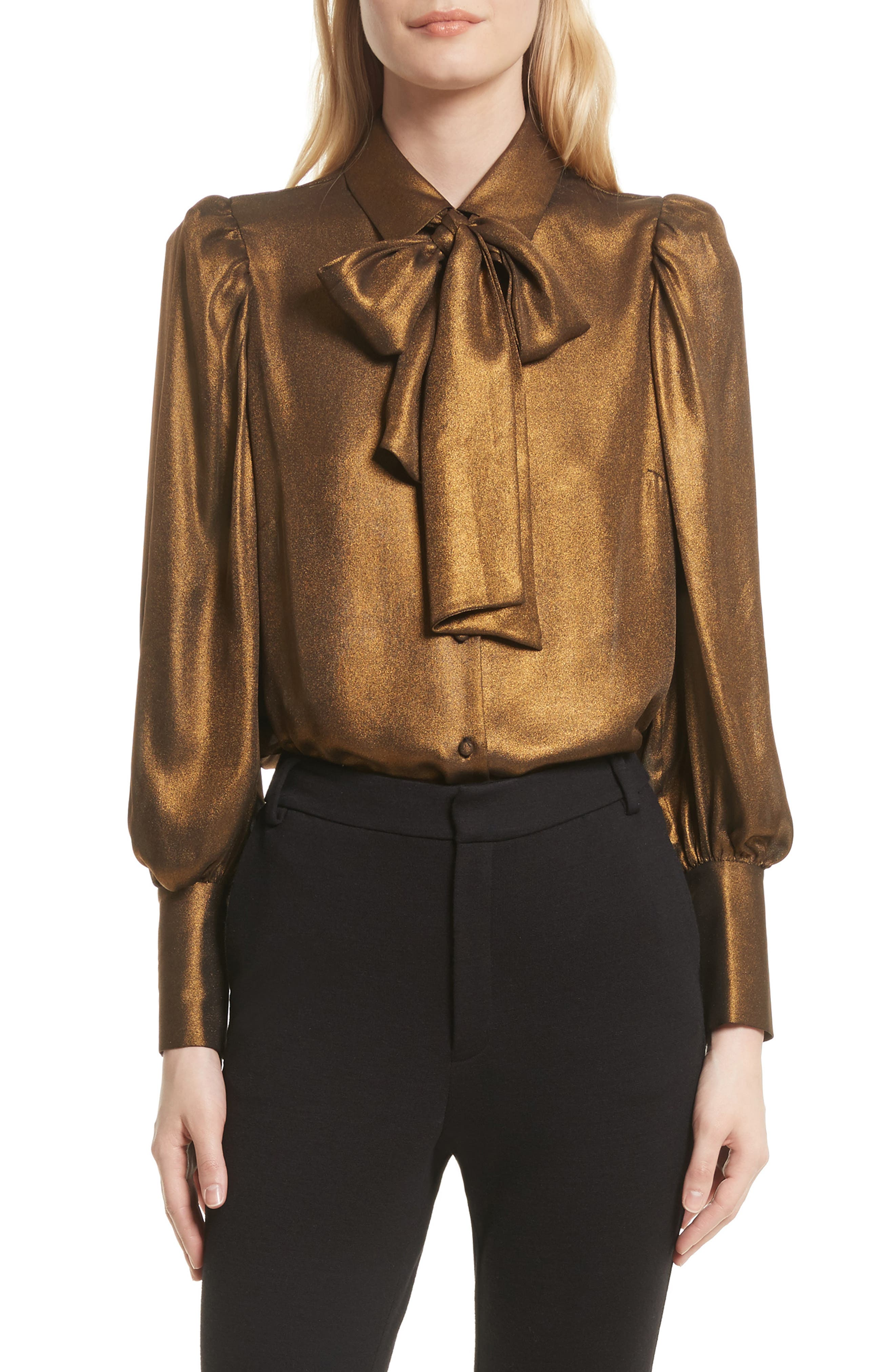 Voluminous Scarf Blouse,                             Main thumbnail 1, color,                             Gold